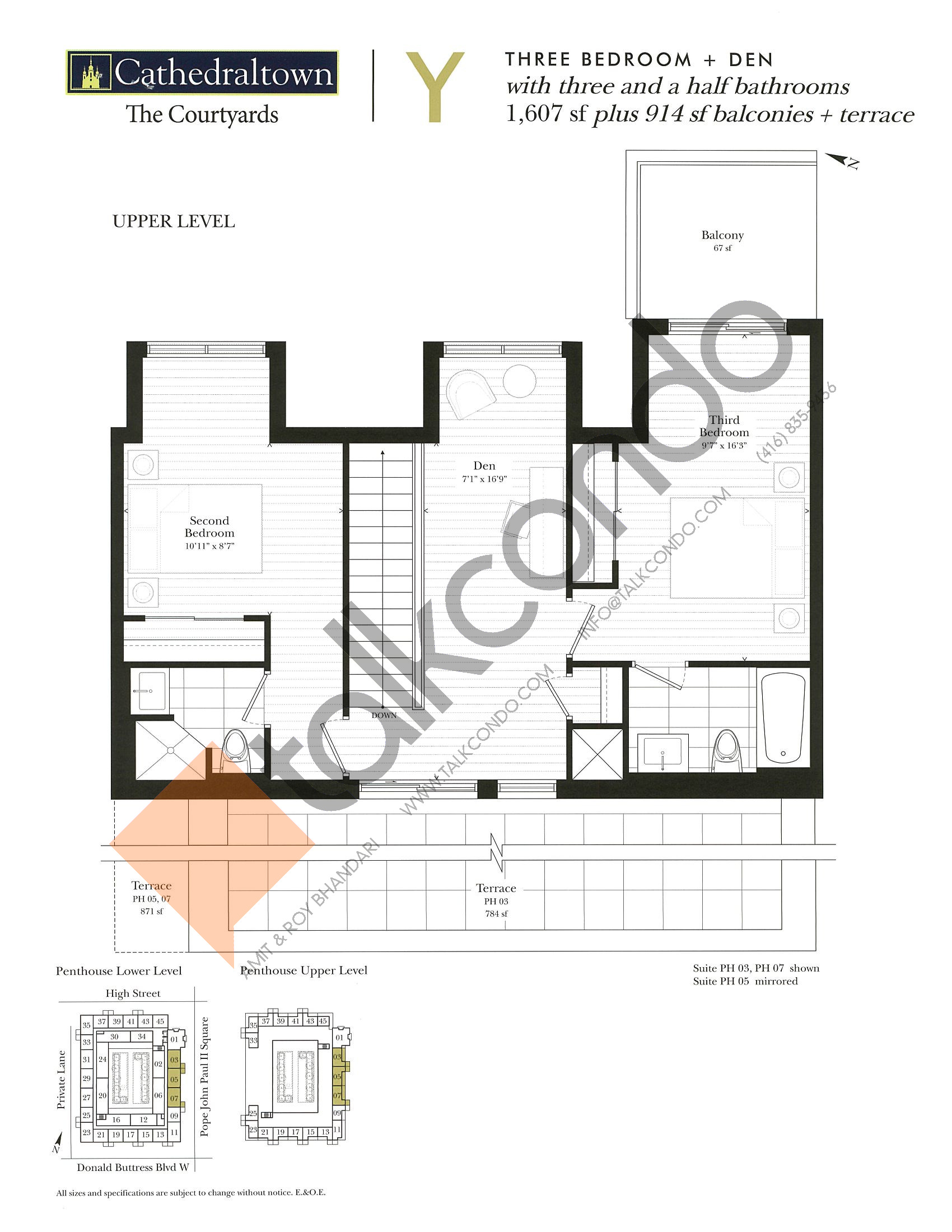 Unit Y (Upper) Floor Plan at The Courtyards at Cathedraltown Condos - 1607 sq.ft