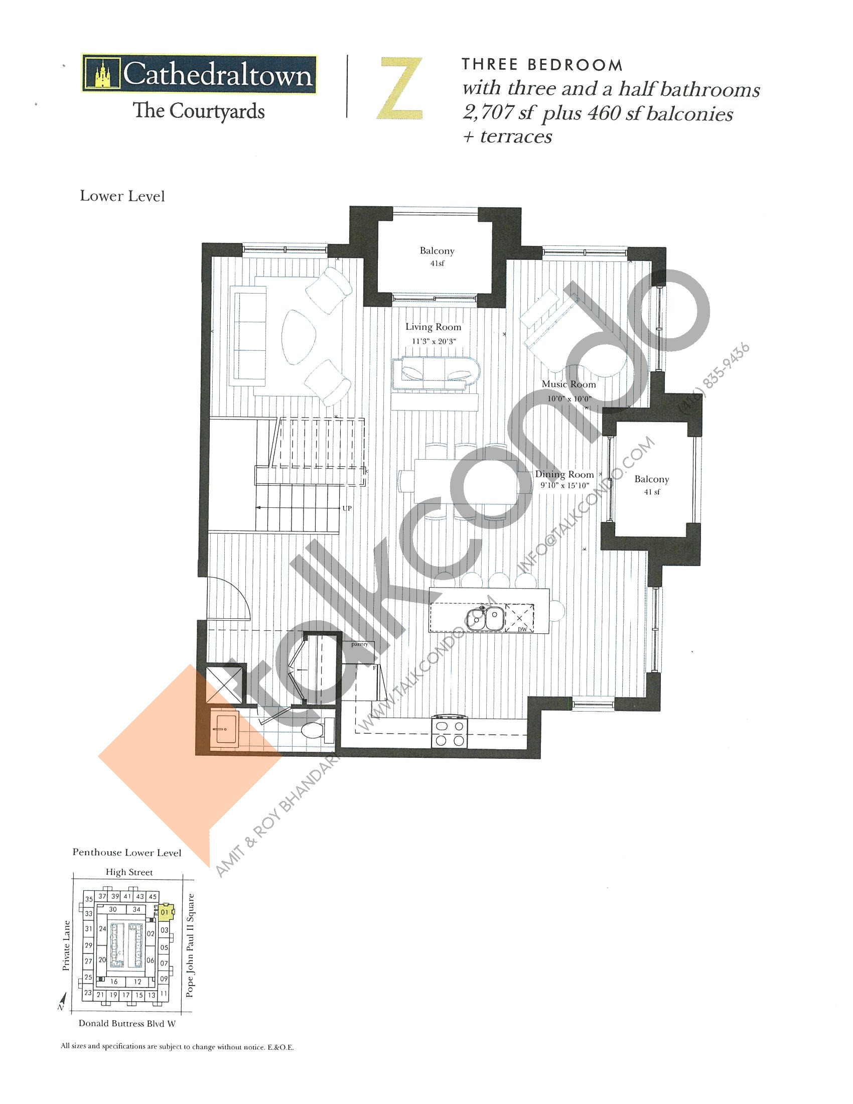 Unit Z (Lower) Floor Plan at The Courtyards at Cathedraltown Condos - 2707 sq.ft