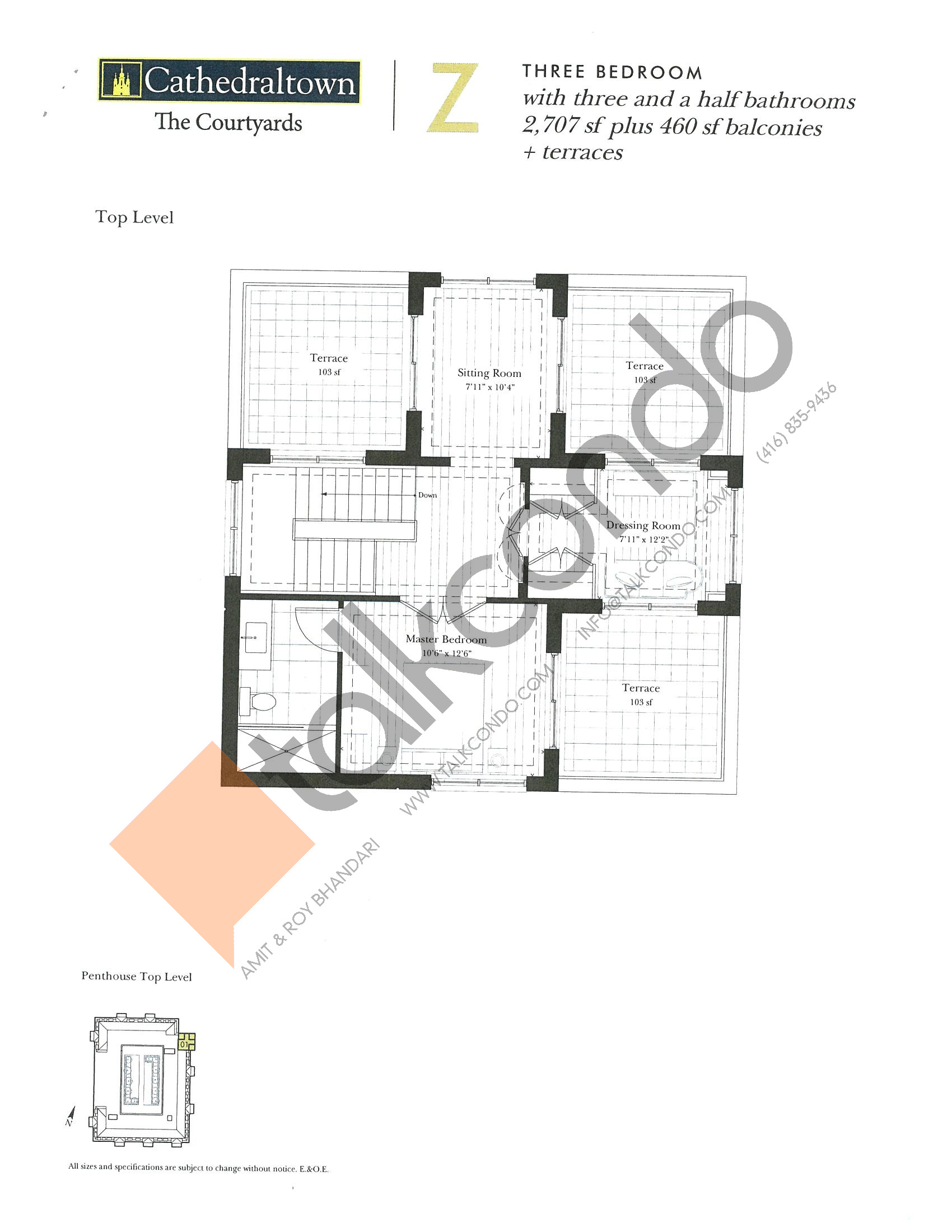 Unit Z (Top) Floor Plan at The Courtyards at Cathedraltown Condos - 2707 sq.ft