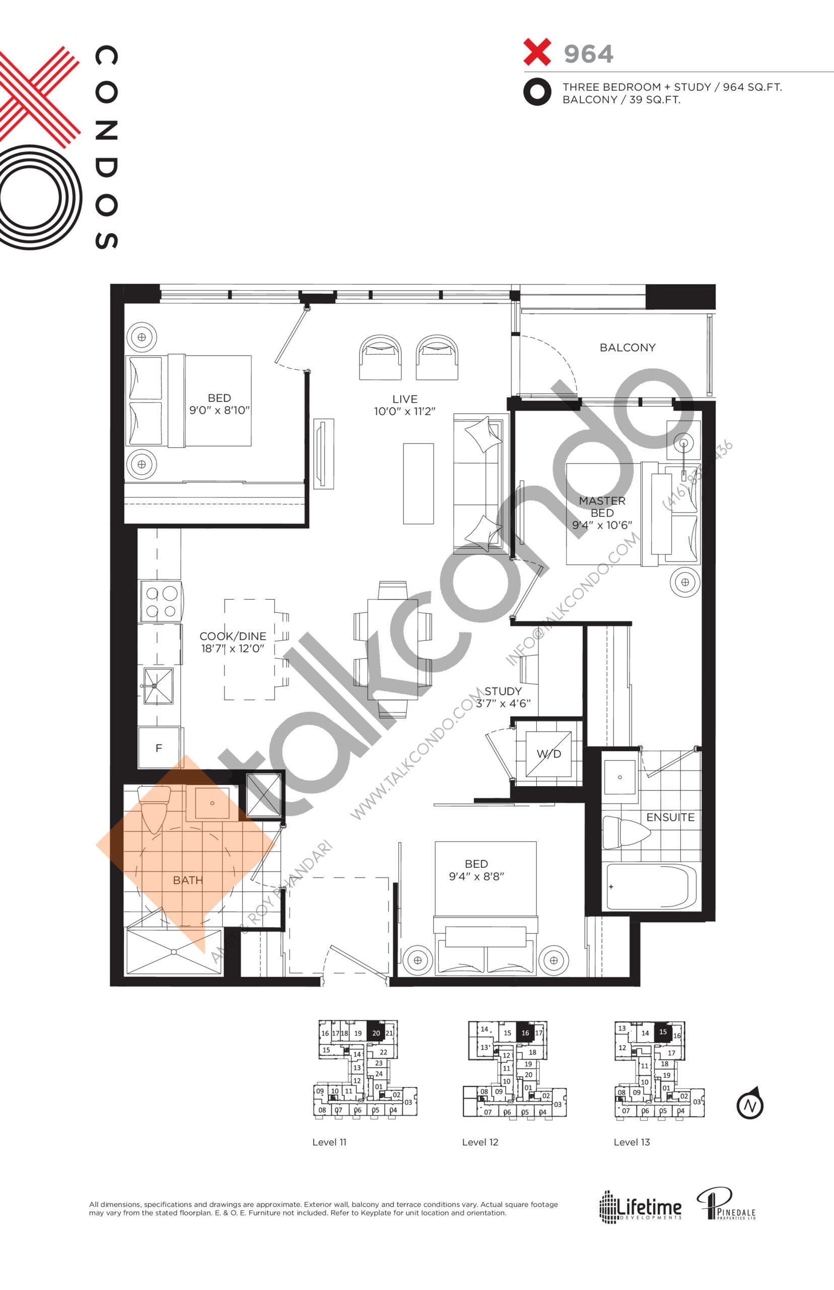 X964 (Platinum Collection) Floor Plan at XO Condos - 964 sq.ft