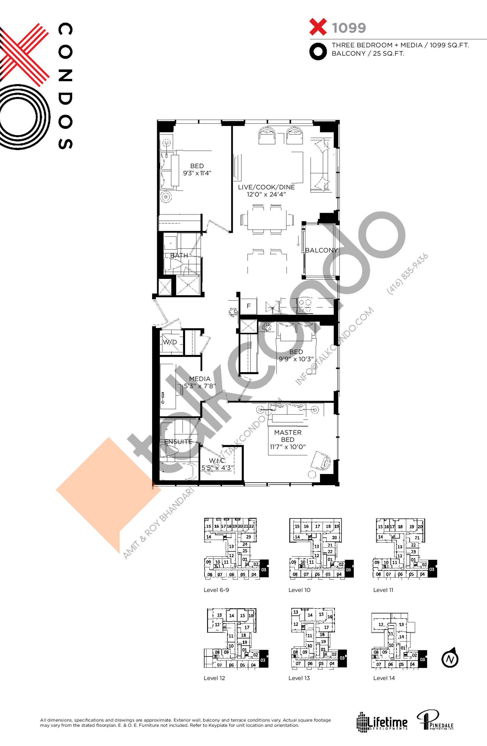 X1099 (Platinum Collection) Floor Plan at XO Condos - 1099 sq.ft