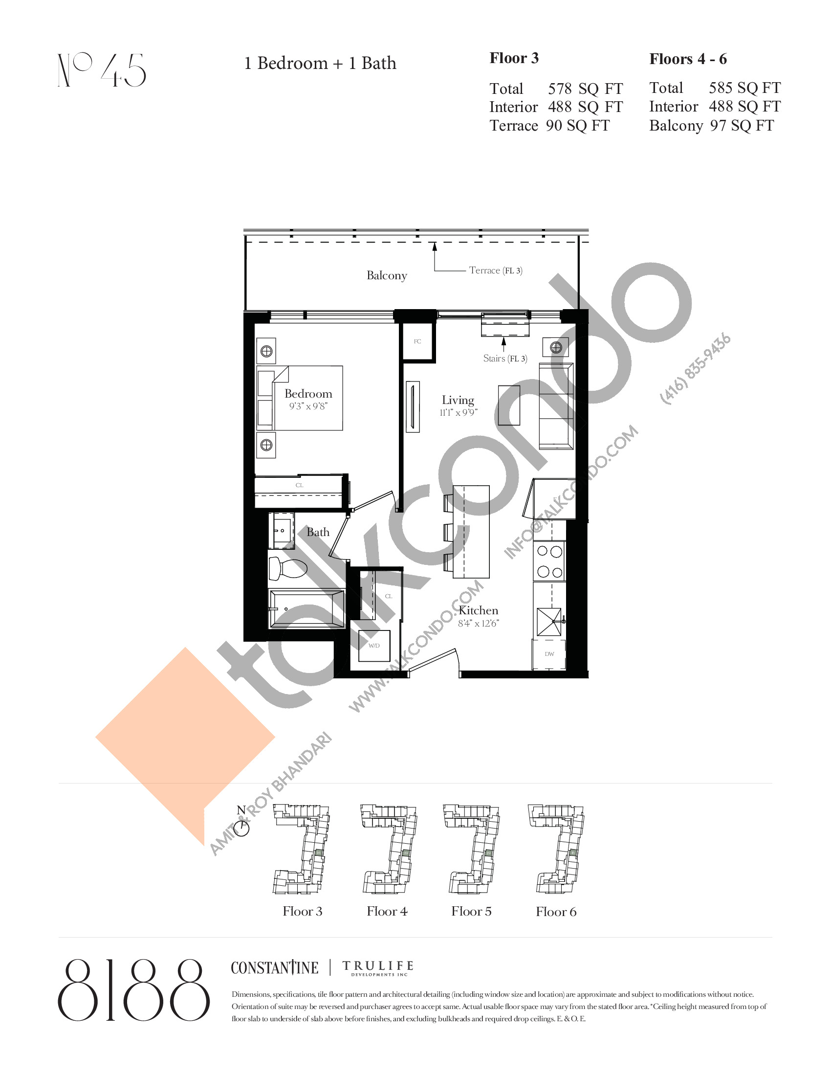 No 45 Floor Plan at 8188 Yonge Condos - 488 sq.ft