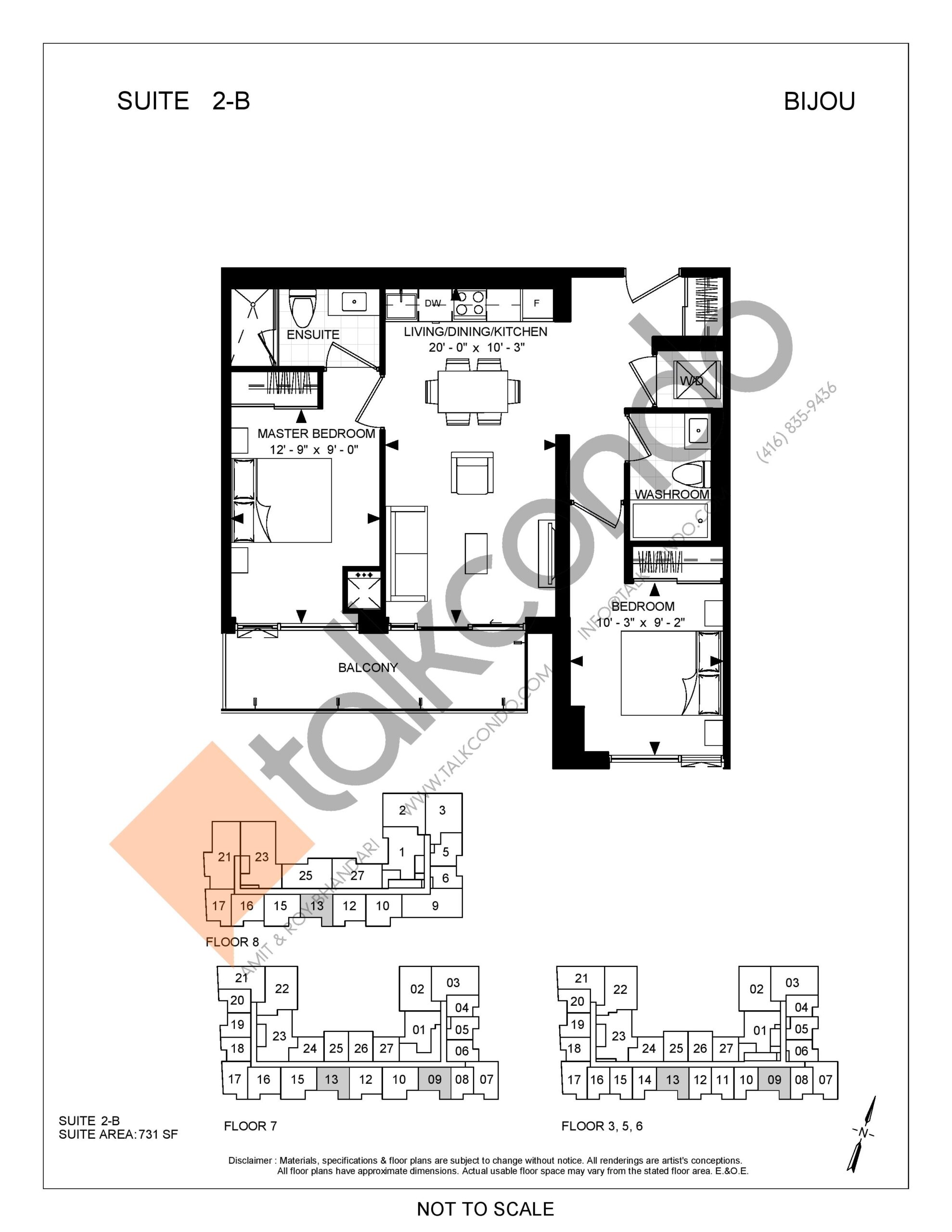 Suite 2-B Floor Plan at Bijou On Bloor Condos - 731 sq.ft