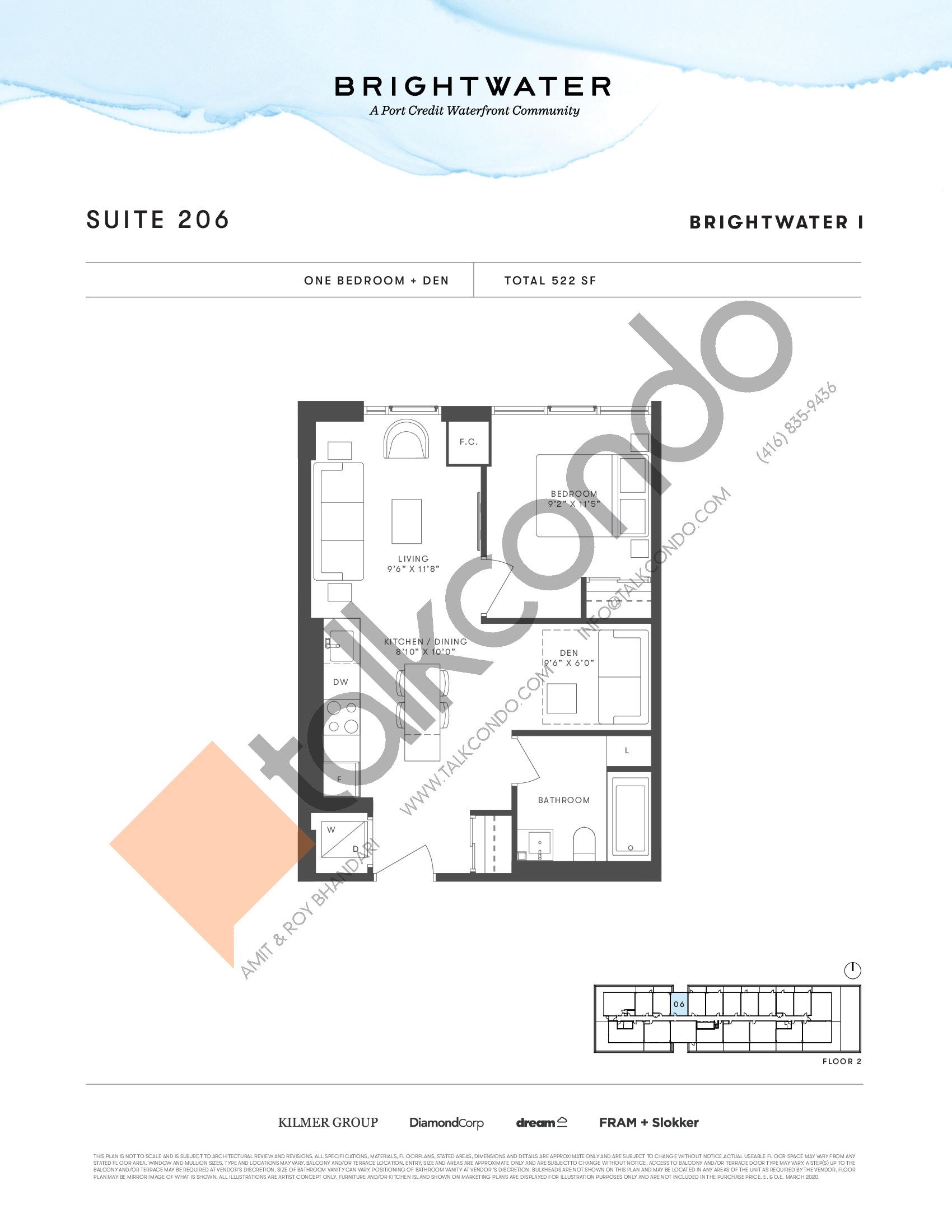 Suite 206 Floor Plan at Brightwater I Condos - 522 sq.ft