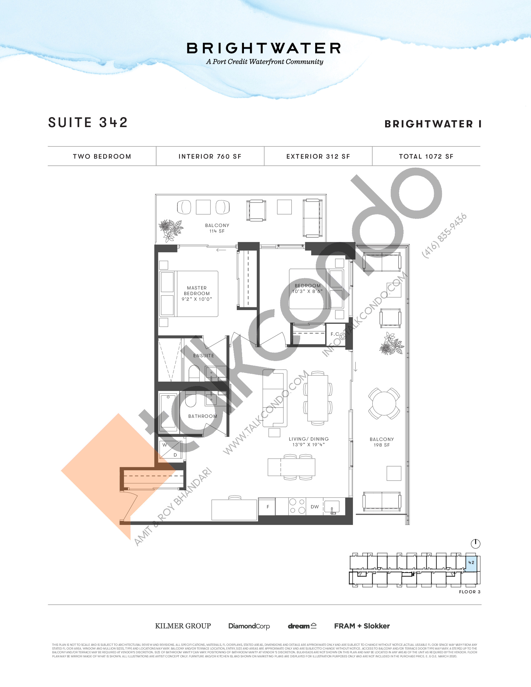 Suite 342 Floor Plan at Brightwater I Condos - 760 sq.ft