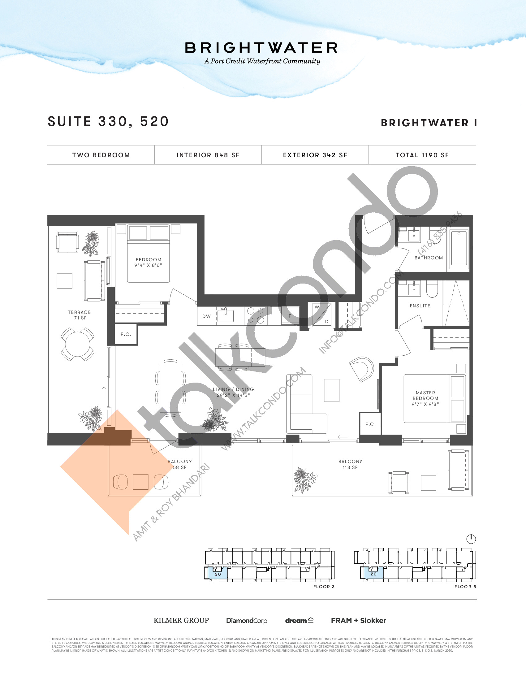 Suite 330, 520 Floor Plan at Brightwater I Condos - 848 sq.ft