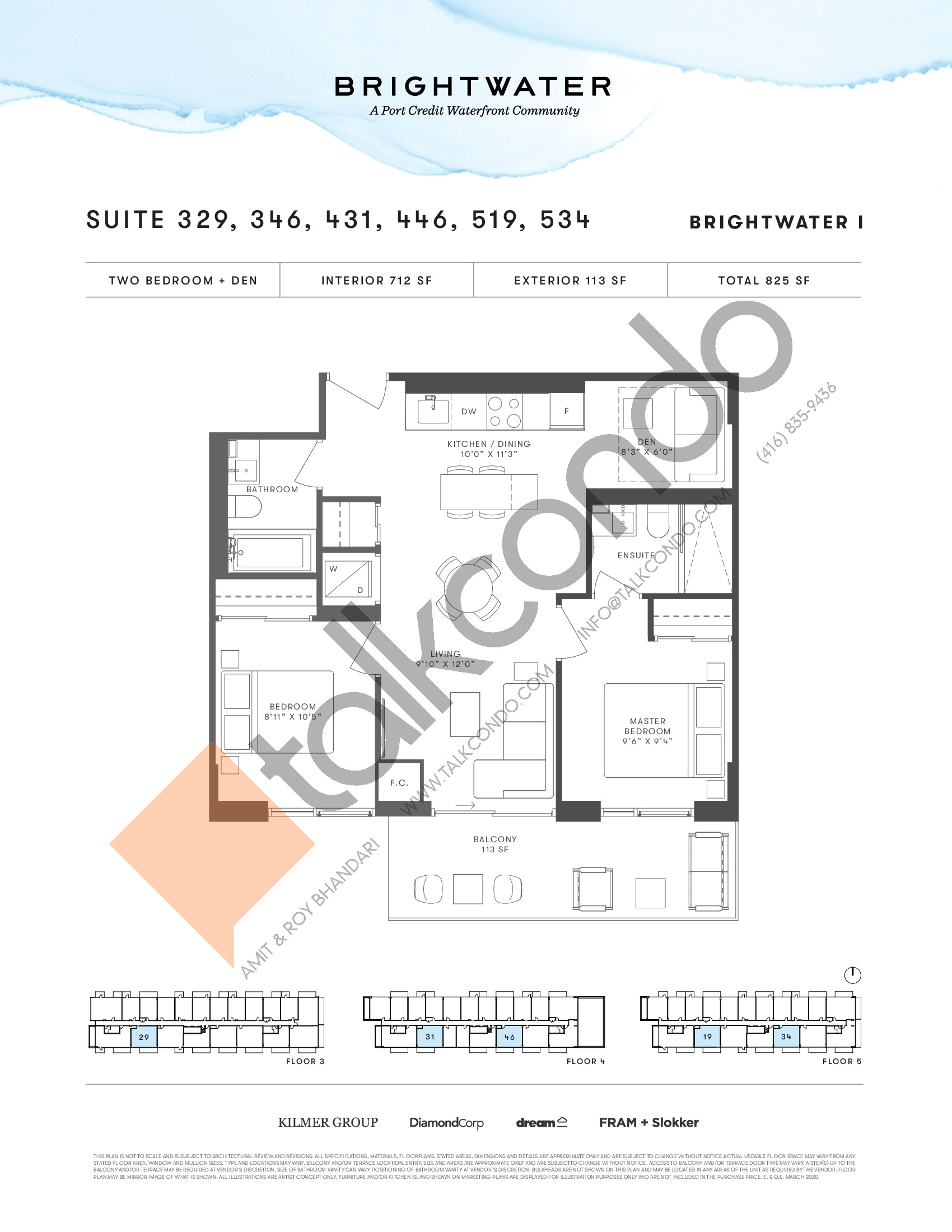 Suite 329, 346, 431, 446, 519, 534 Floor Plan at Brightwater I Condos - 712 sq.ft