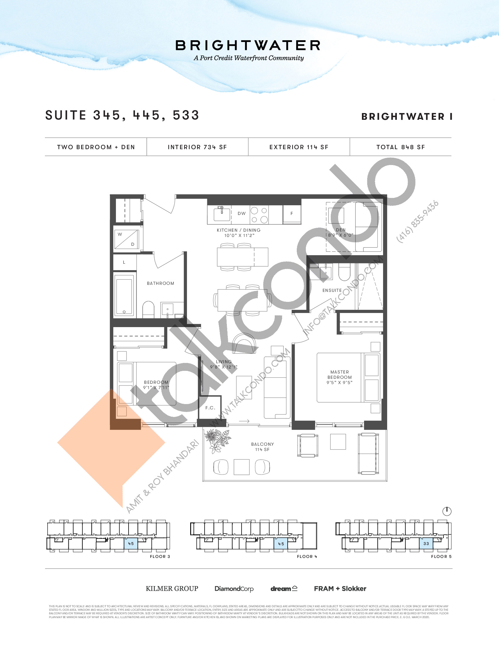 Suite 345, 445, 533 Floor Plan at Brightwater I Condos - 734 sq.ft