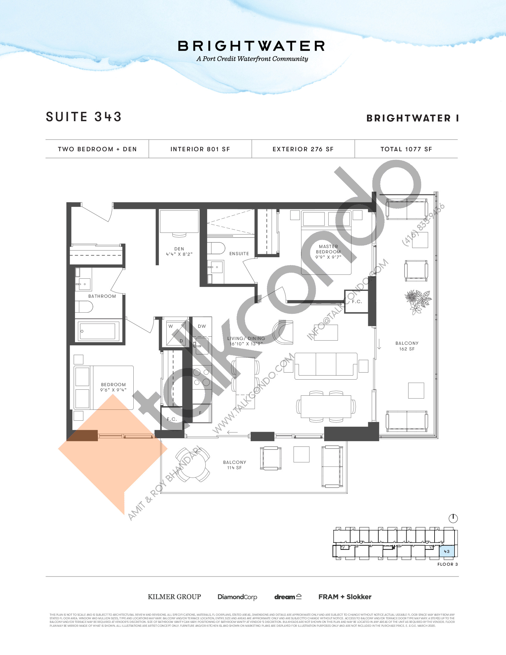 Suite 343 Floor Plan at Brightwater I Condos - 801 sq.ft