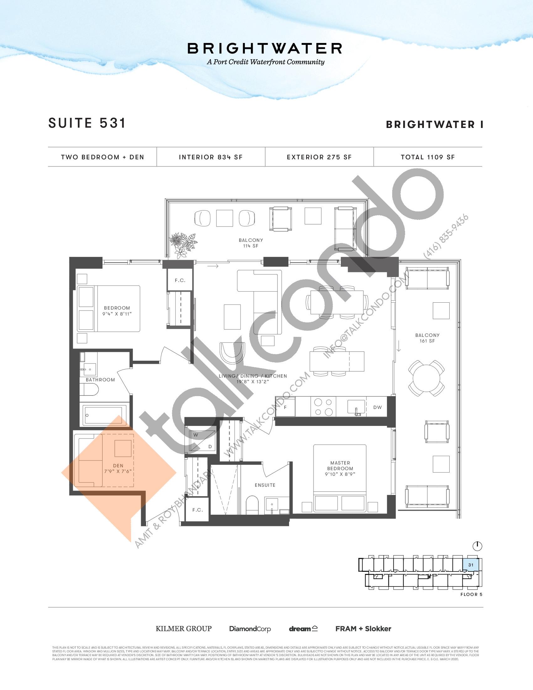 Suite 531 Floor Plan at Brightwater I Condos - 834 sq.ft