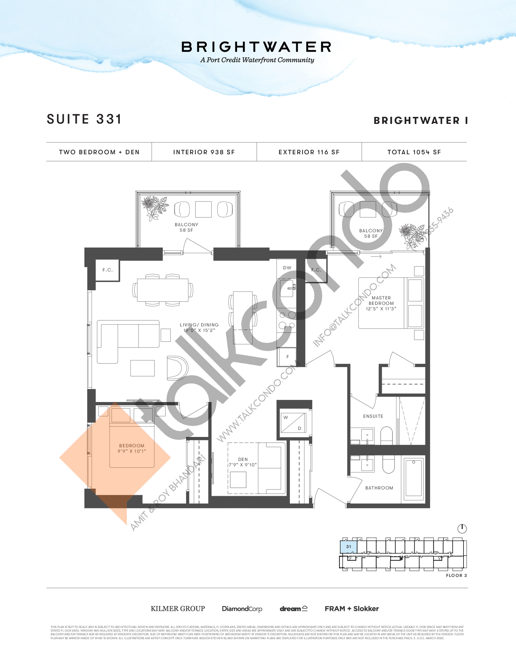 Suite 331 Floor Plan at Brightwater I Condos - 938 sq.ft
