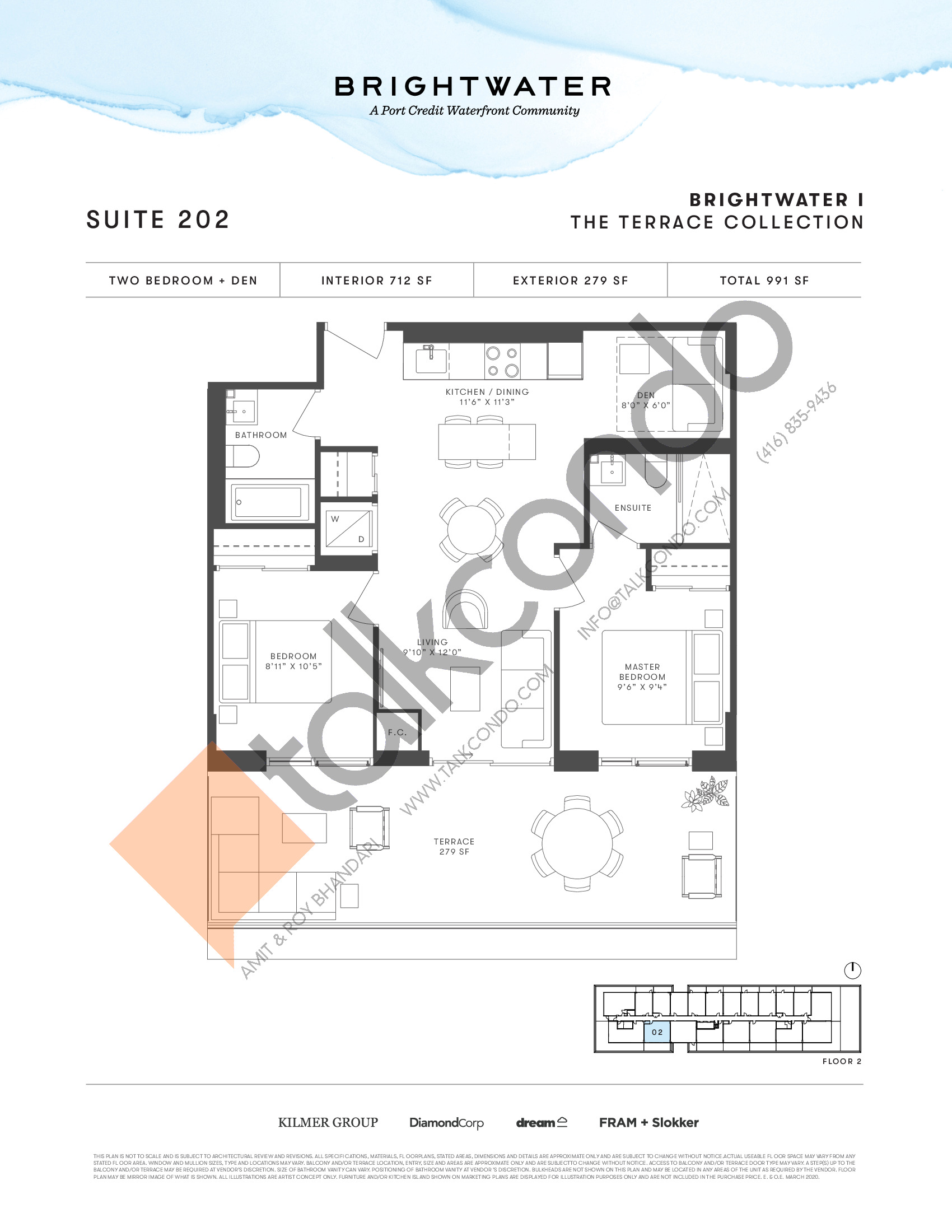 Suite 202 (The Terrace Collection) Floor Plan at Brightwater I Condos - 712 sq.ft