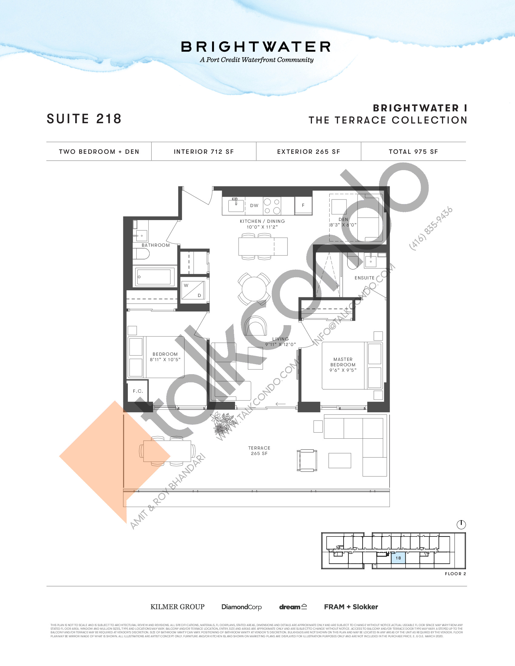 Suite 218 (The Terrace Collection) Floor Plan at Brightwater I Condos - 712 sq.ft