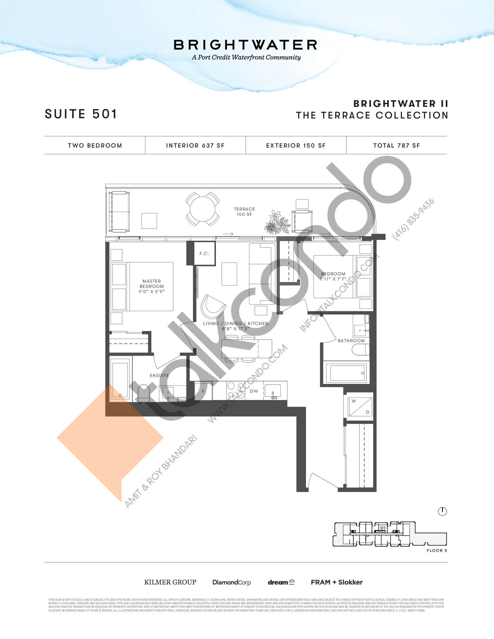 Suite 501 (The Terrace Collection) Floor Plan at Brightwater II Condos - 637 sq.ft
