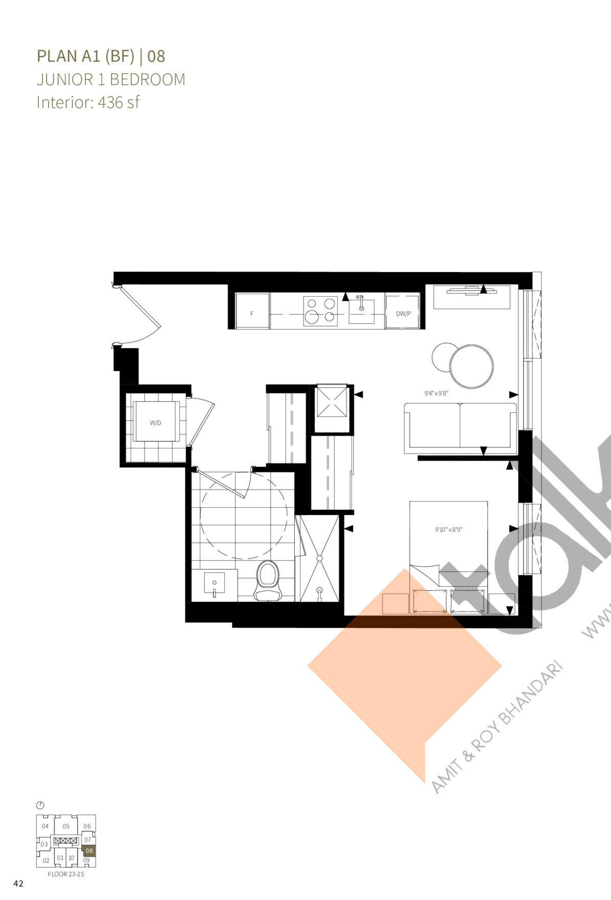 Plan A1 (BF) | 08 Floor Plan at Burke Condos - 436 sq.ft