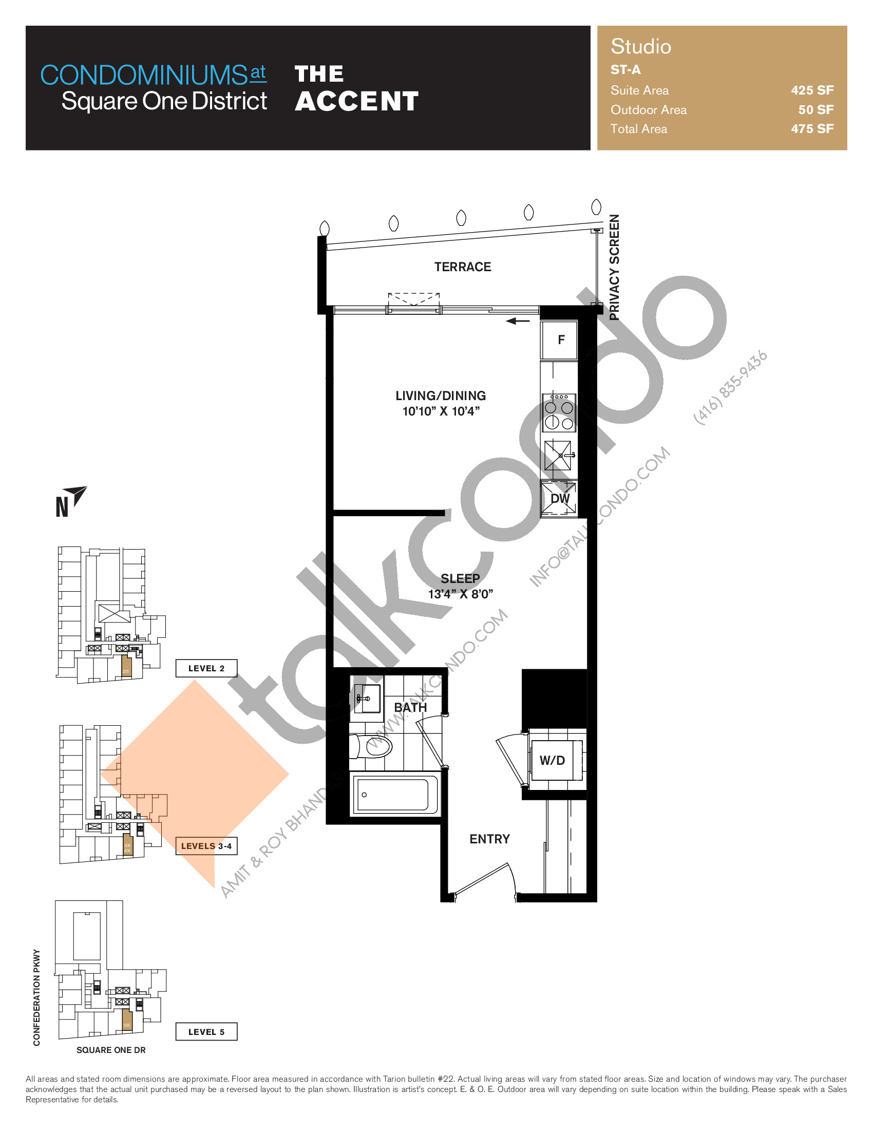 The Accent Floor Plan at Condominiums at Square One District - 425 sq.ft