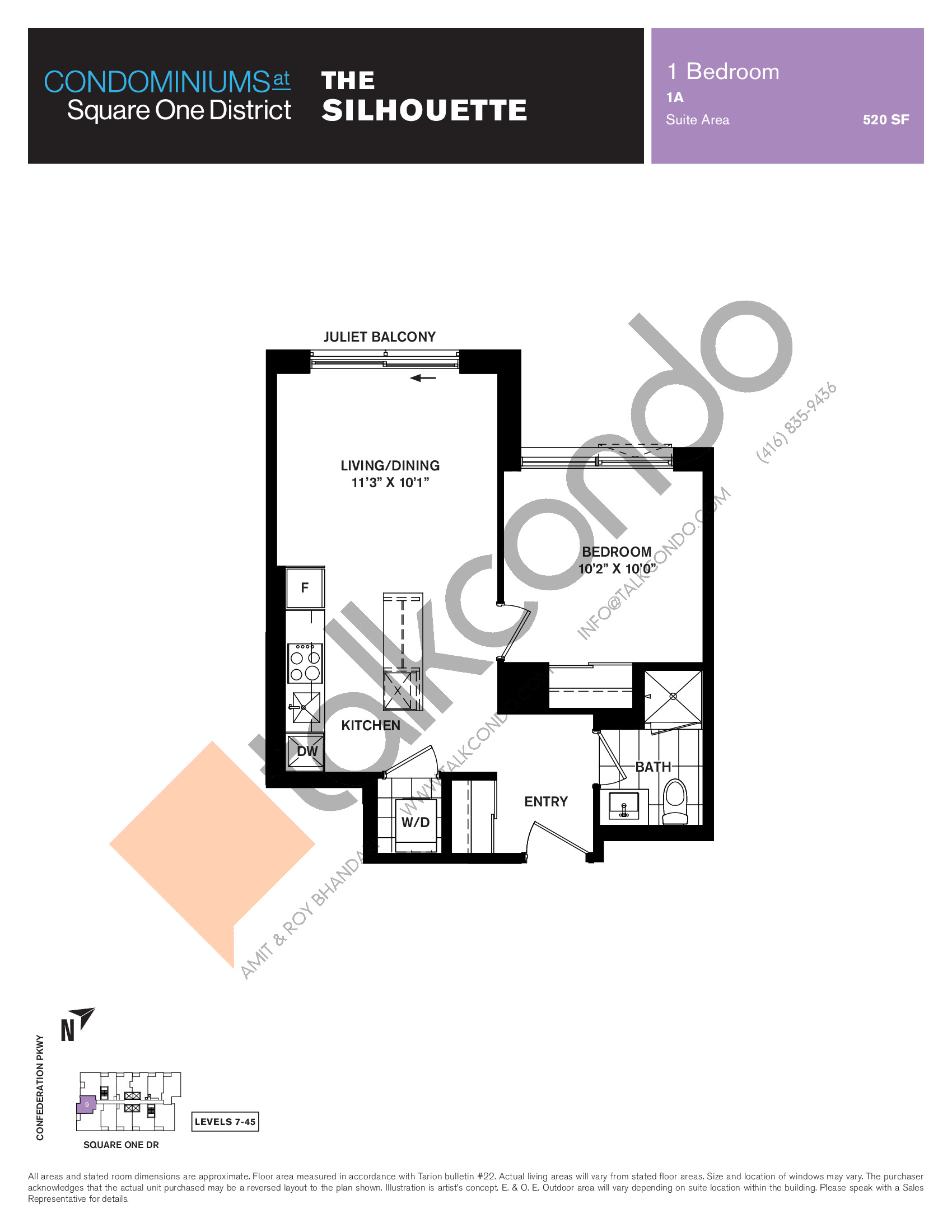 The Silhouette Floor Plan at Condominiums at Square One District - 520 sq.ft
