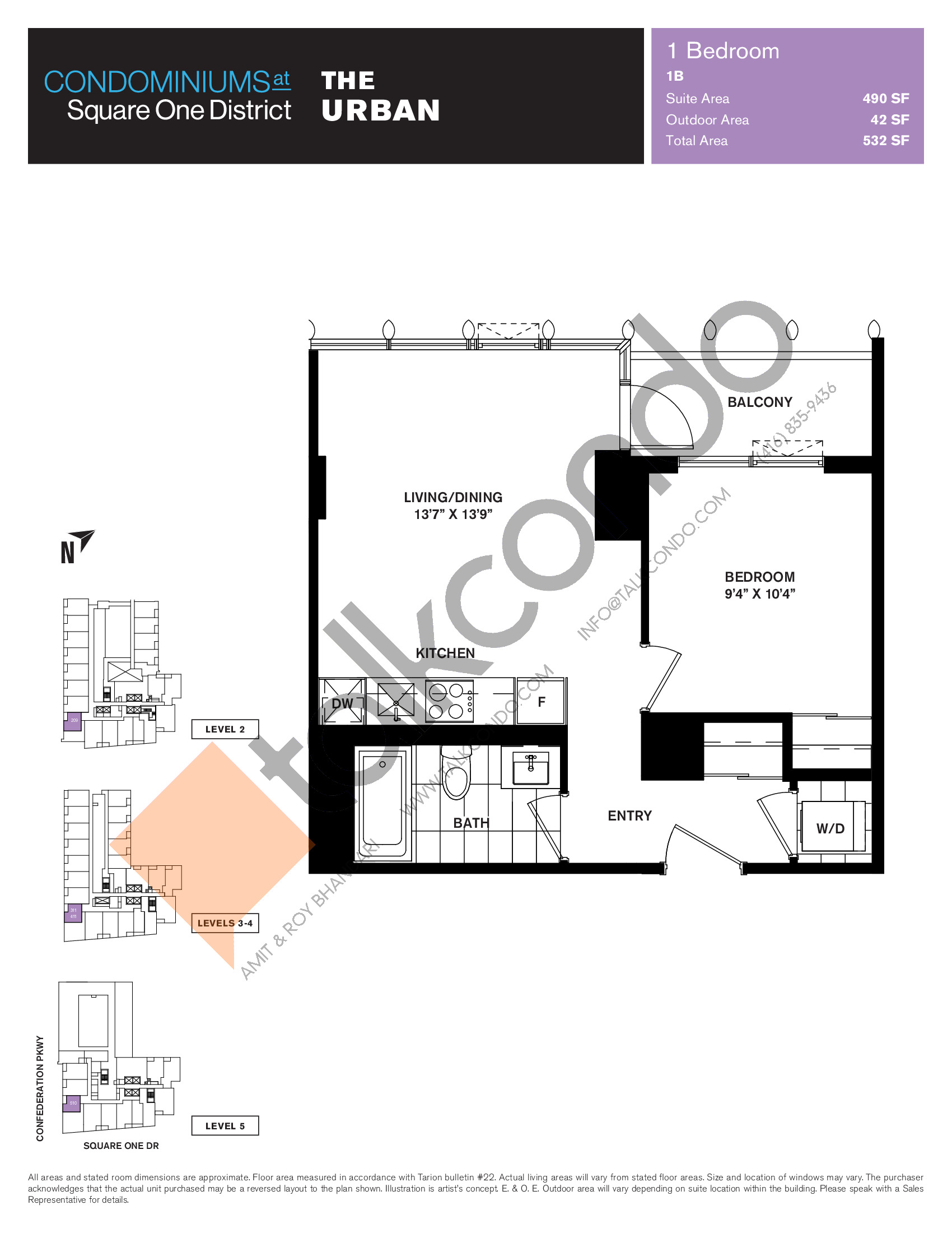 The Urban Floor Plan at Condominiums at Square One District - 490 sq.ft