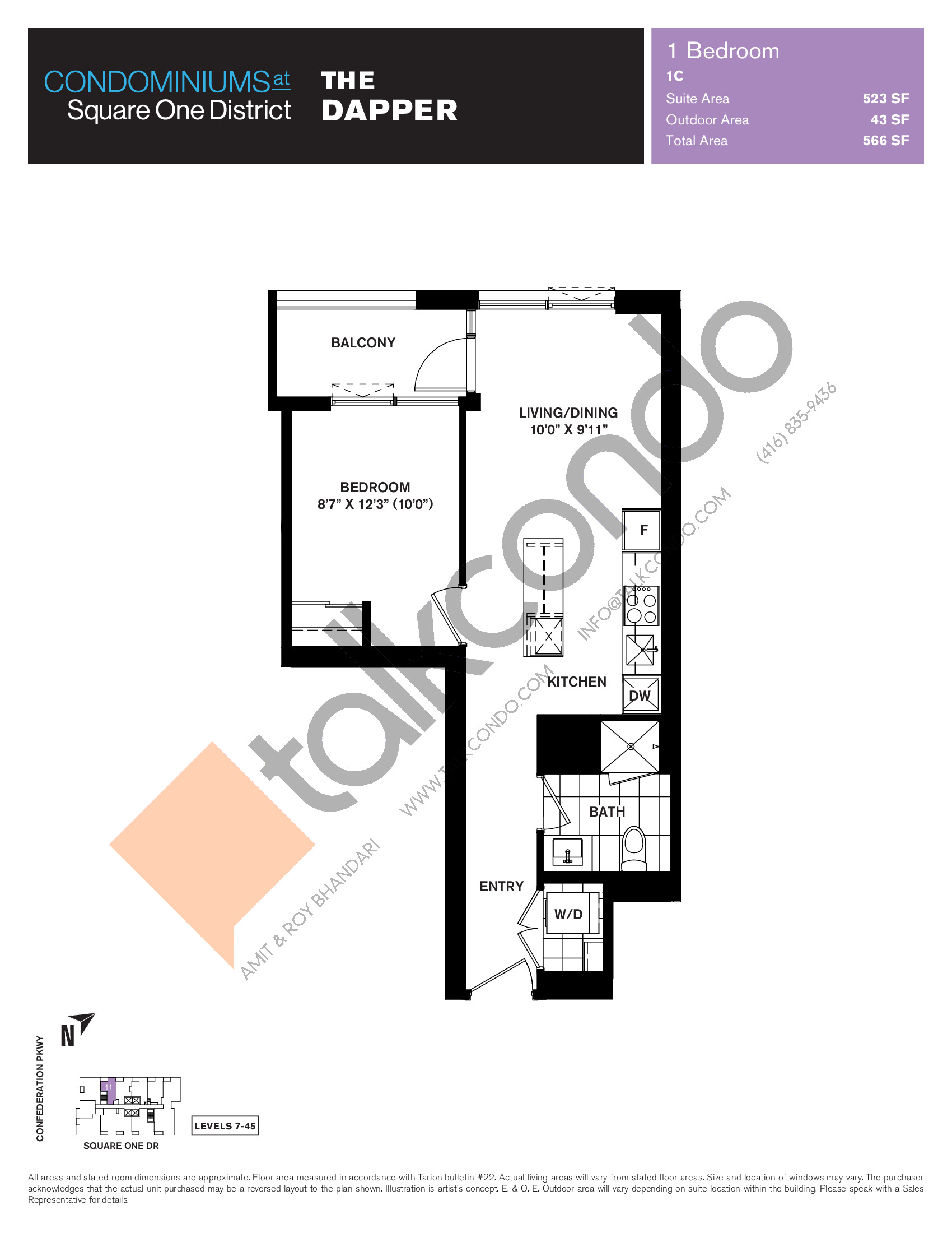 The Dapper Floor Plan at Condominiums at Square One District - 523 sq.ft