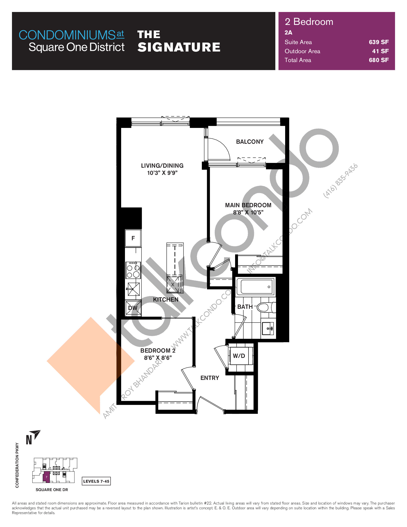 The Signature Floor Plan at Condominiums at Square One District - 639 sq.ft