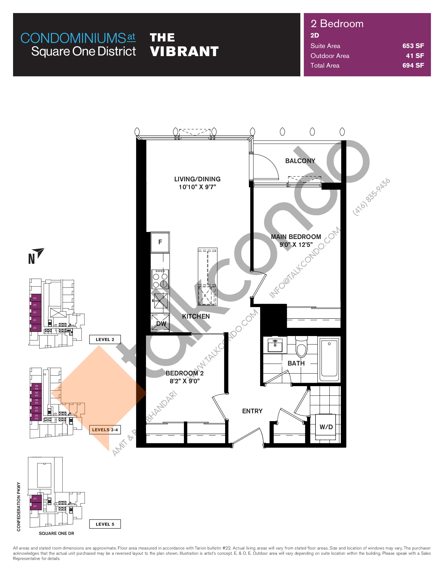 The Vibrant Floor Plan at Condominiums at Square One District - 653 sq.ft