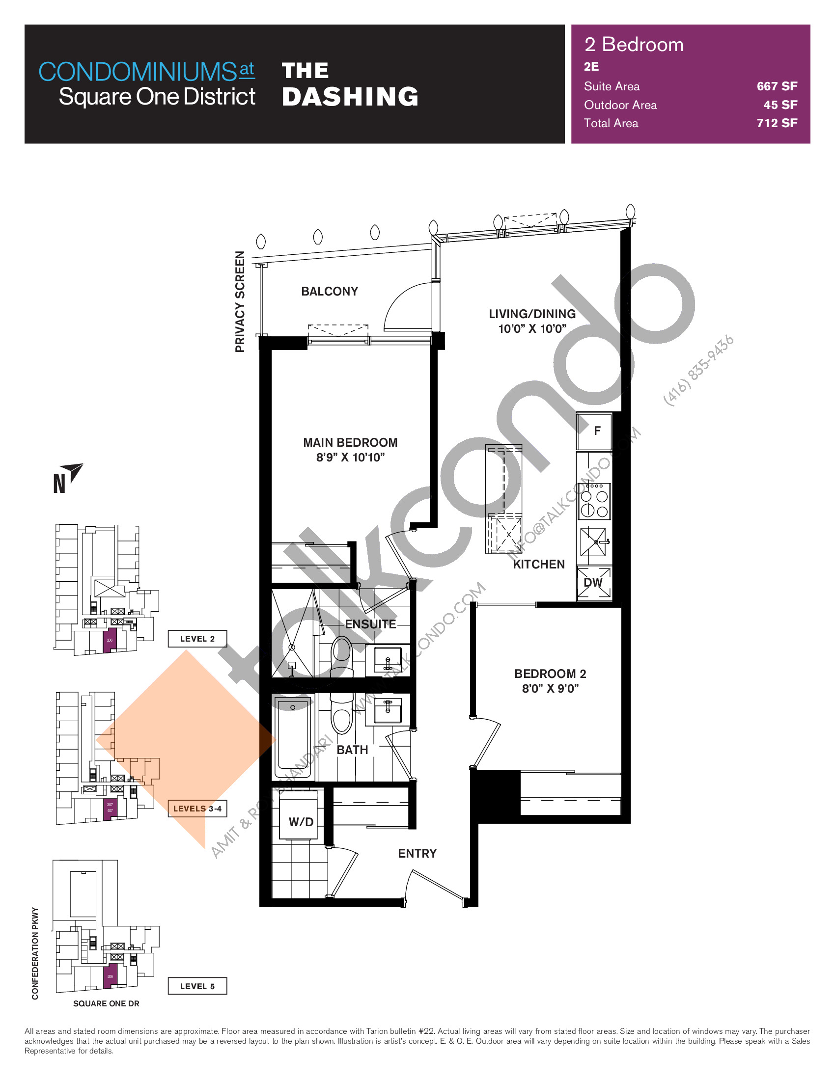 The Dashing Floor Plan at Condominiums at Square One District - 667 sq.ft