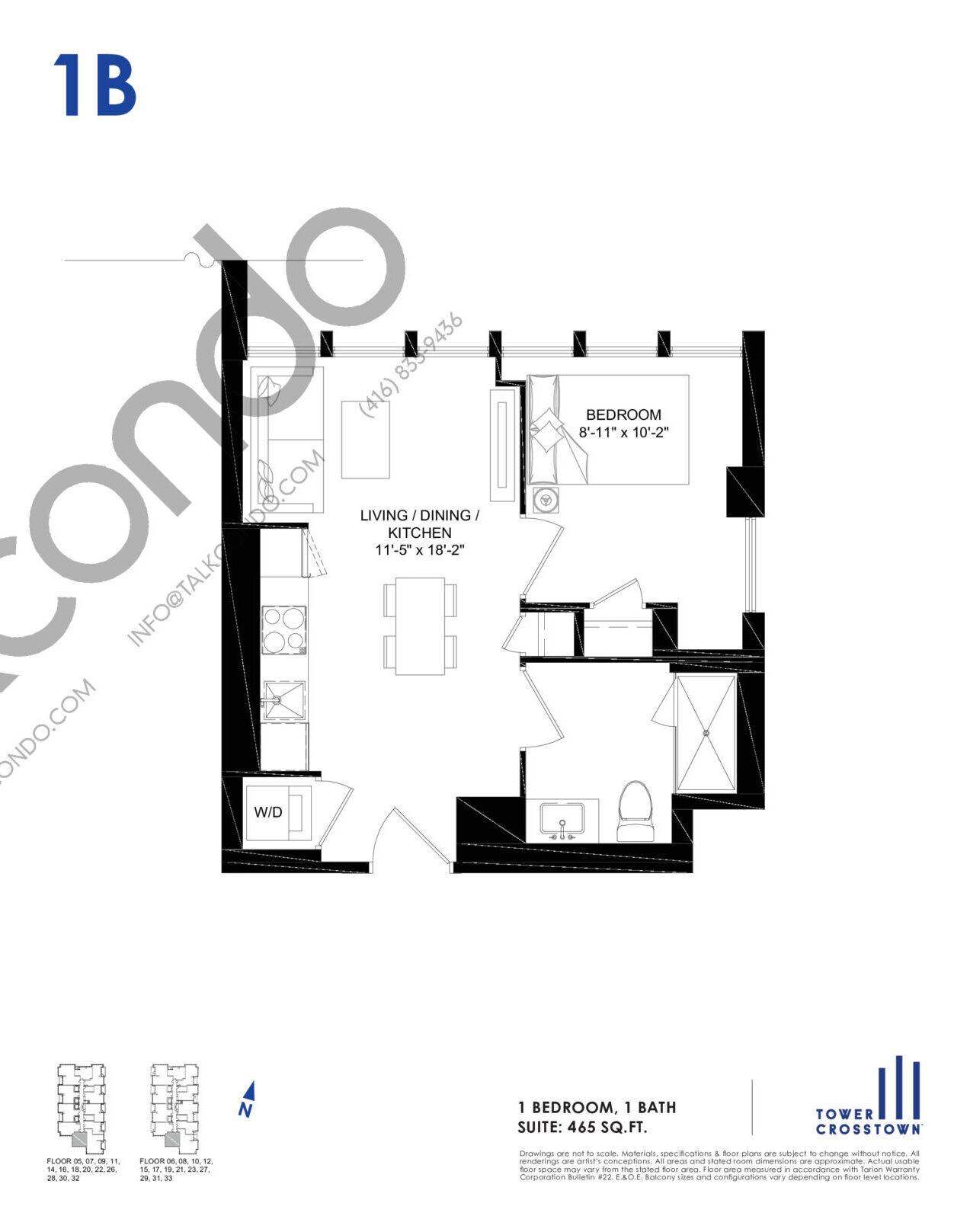 1B Floor Plan at Crosstown Tower 3 Condos - 465 sq.ft