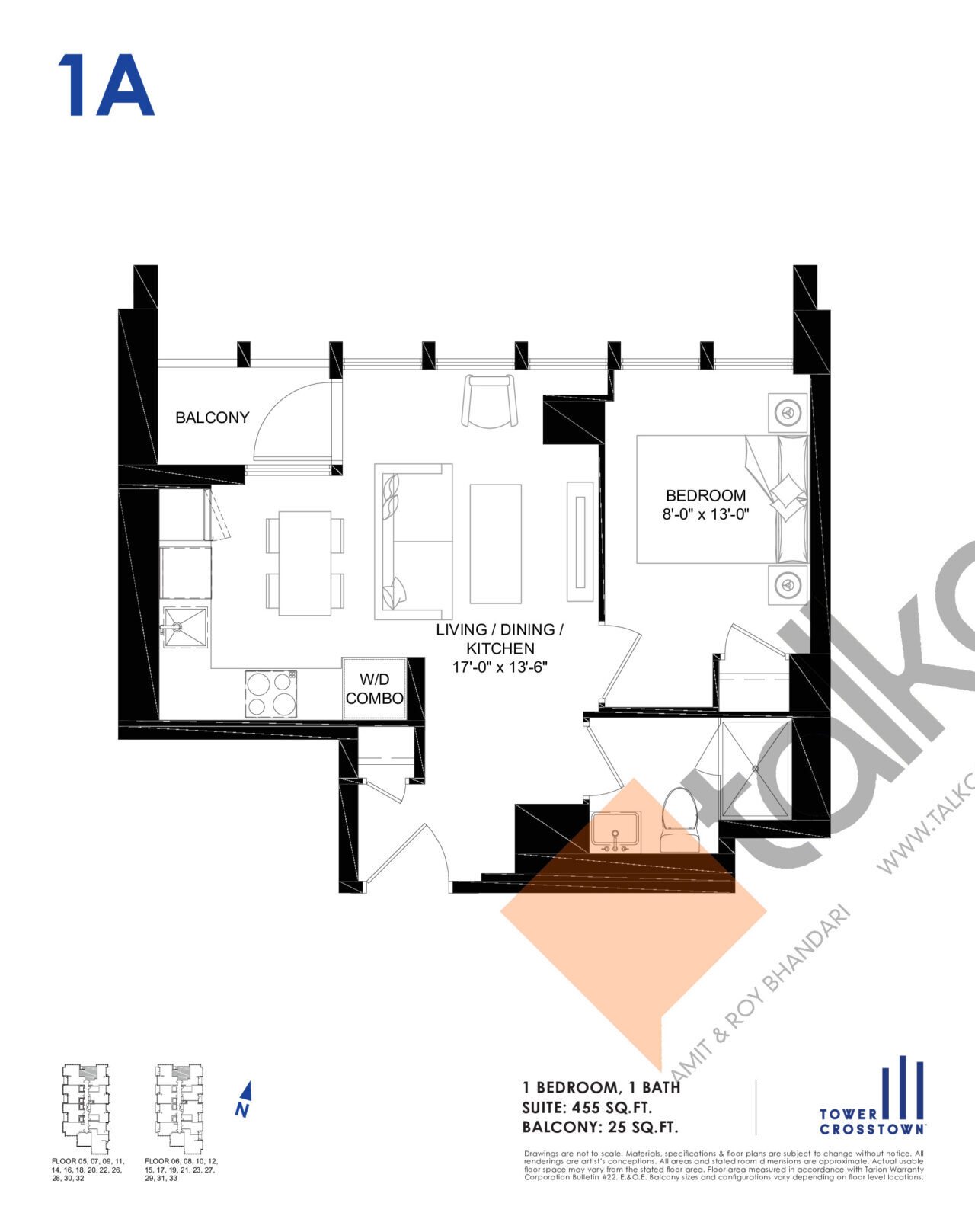 1A Floor Plan at Crosstown Tower 3 Condos - 455 sq.ft