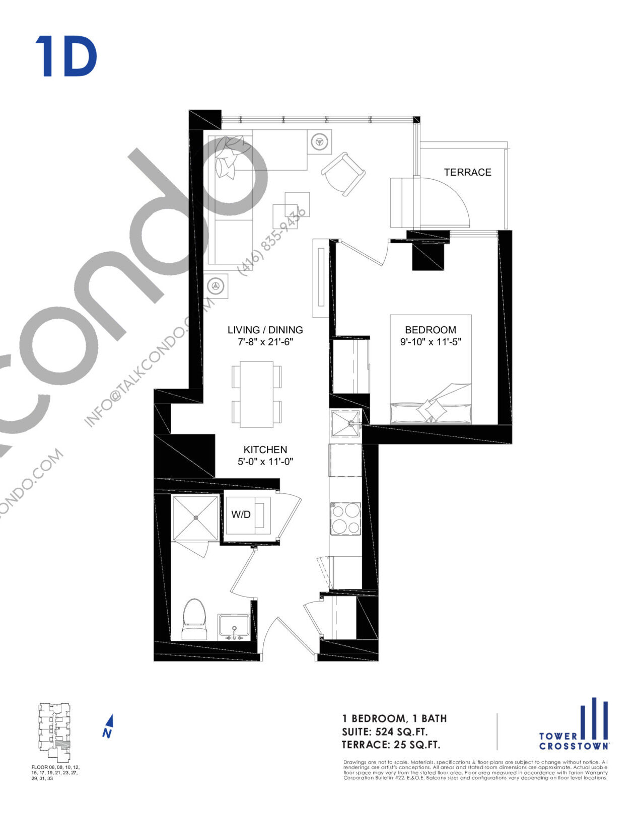 1D Floor Plan at Crosstown Tower 3 Condos - 524 sq.ft
