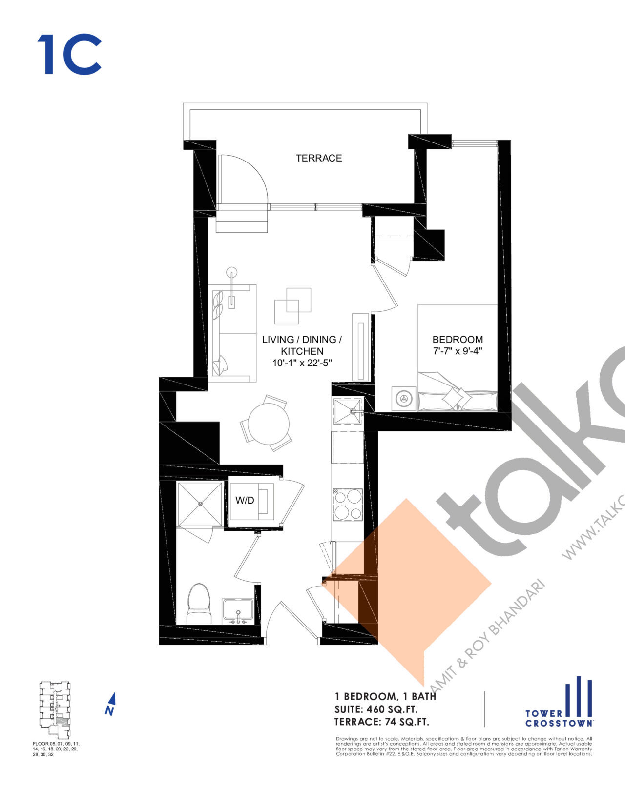 1C Floor Plan at Crosstown Tower 3 Condos - 460 sq.ft