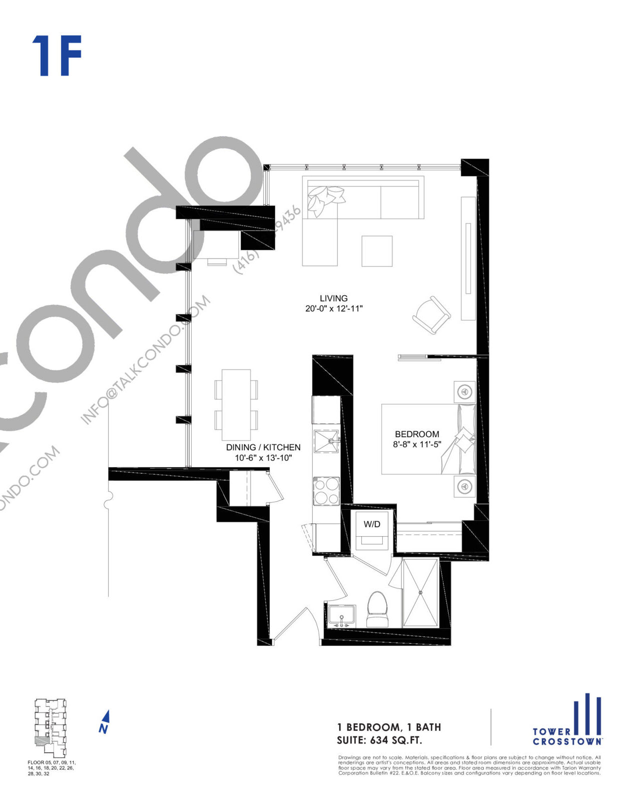 1F Floor Plan at Crosstown Tower 3 Condos - 634 sq.ft