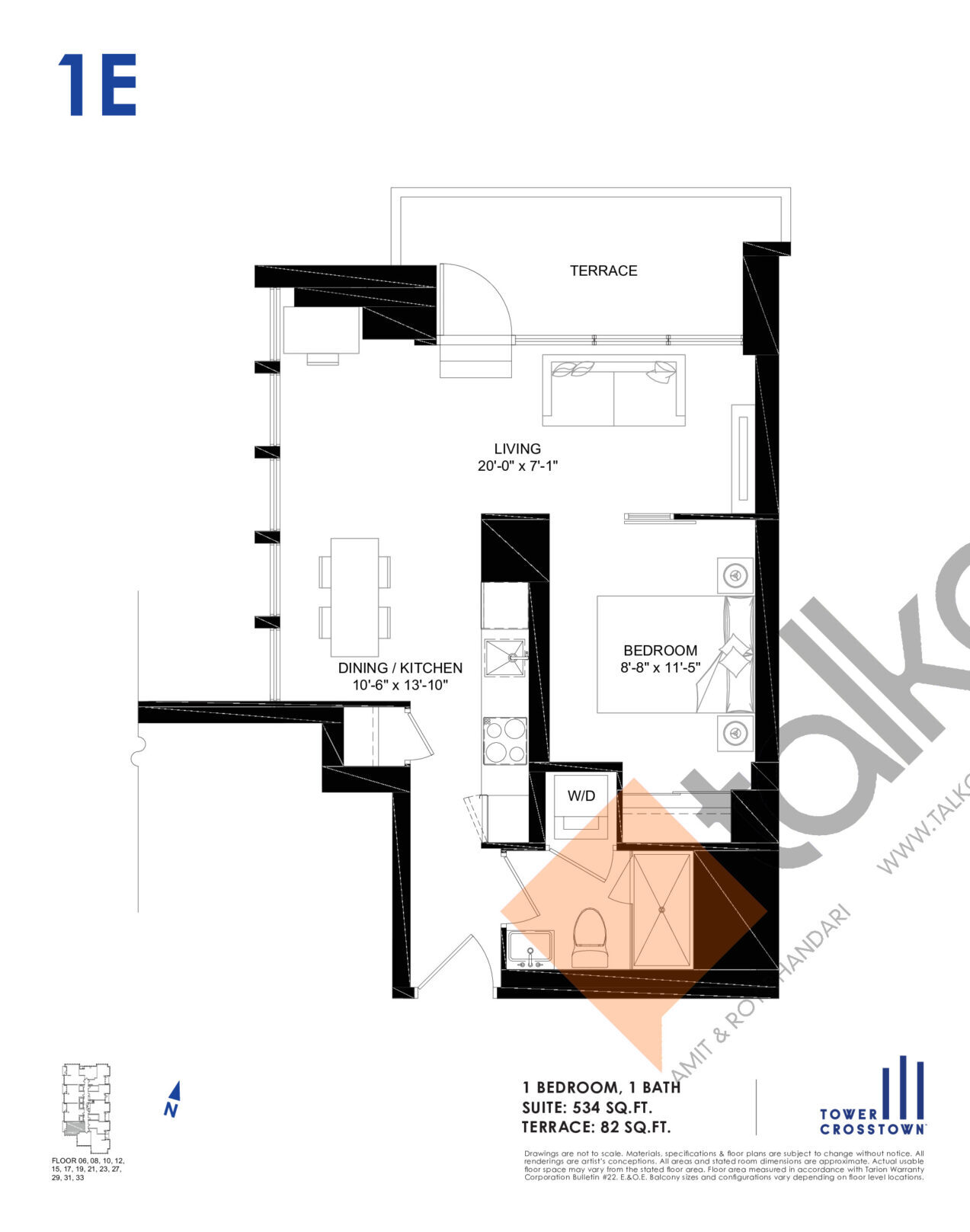 1E Floor Plan at Crosstown Tower 3 Condos - 534 sq.ft