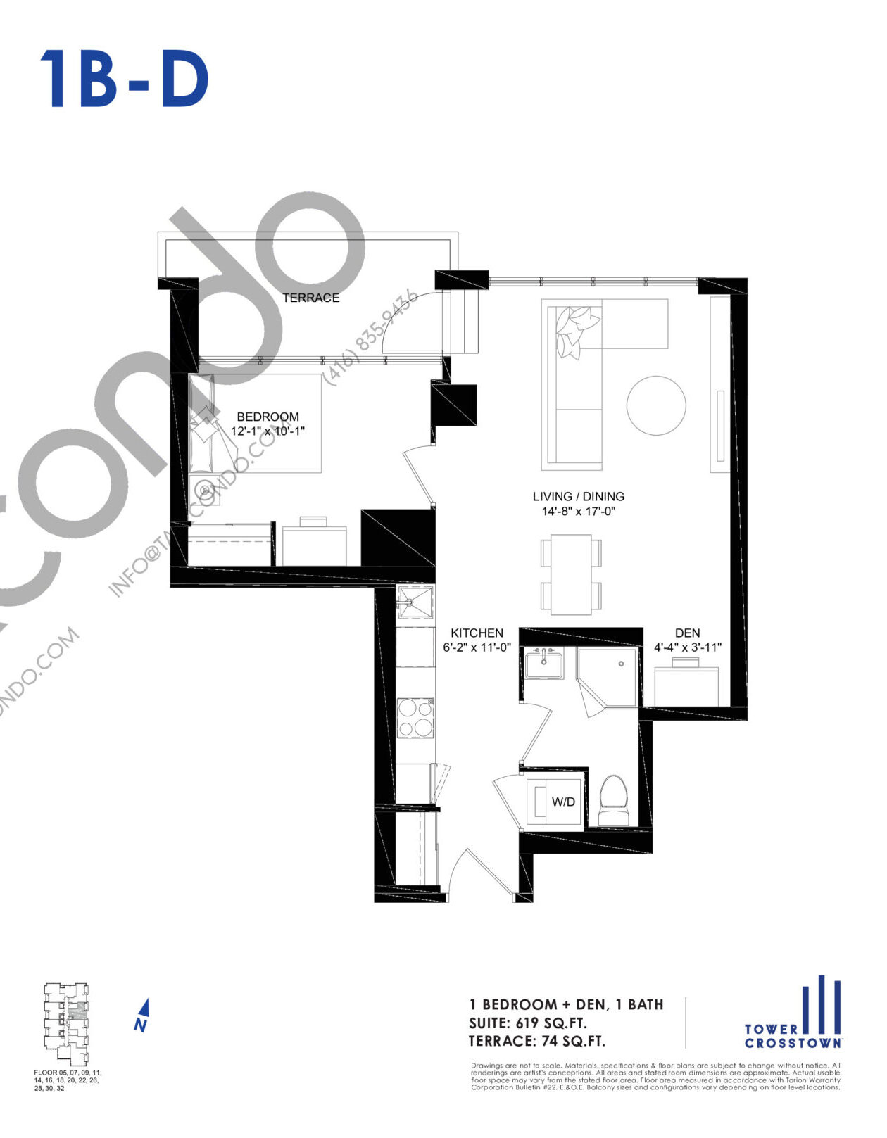 1B-D Floor Plan at Crosstown Tower 3 Condos - 619 sq.ft