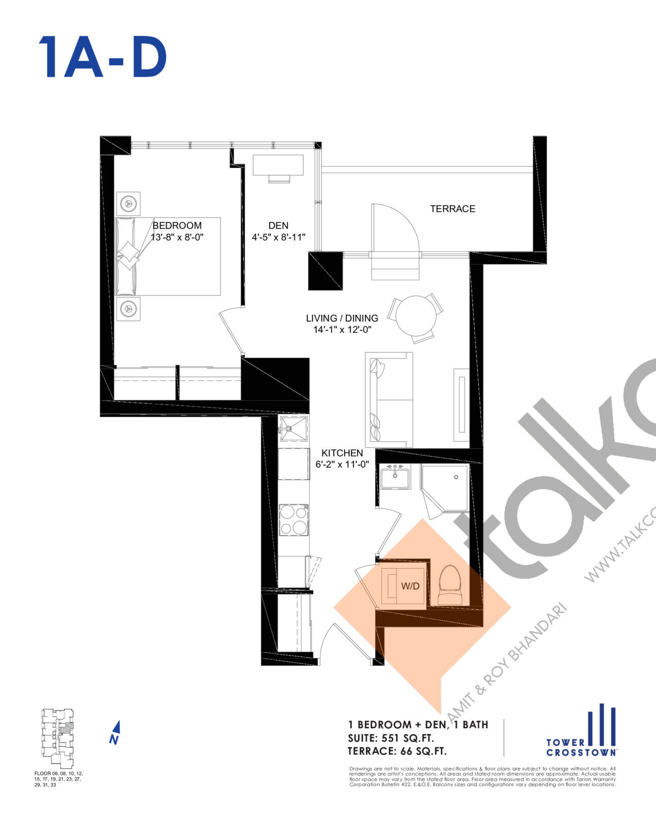 1A-D Floor Plan at Crosstown Tower 3 Condos - 551 sq.ft