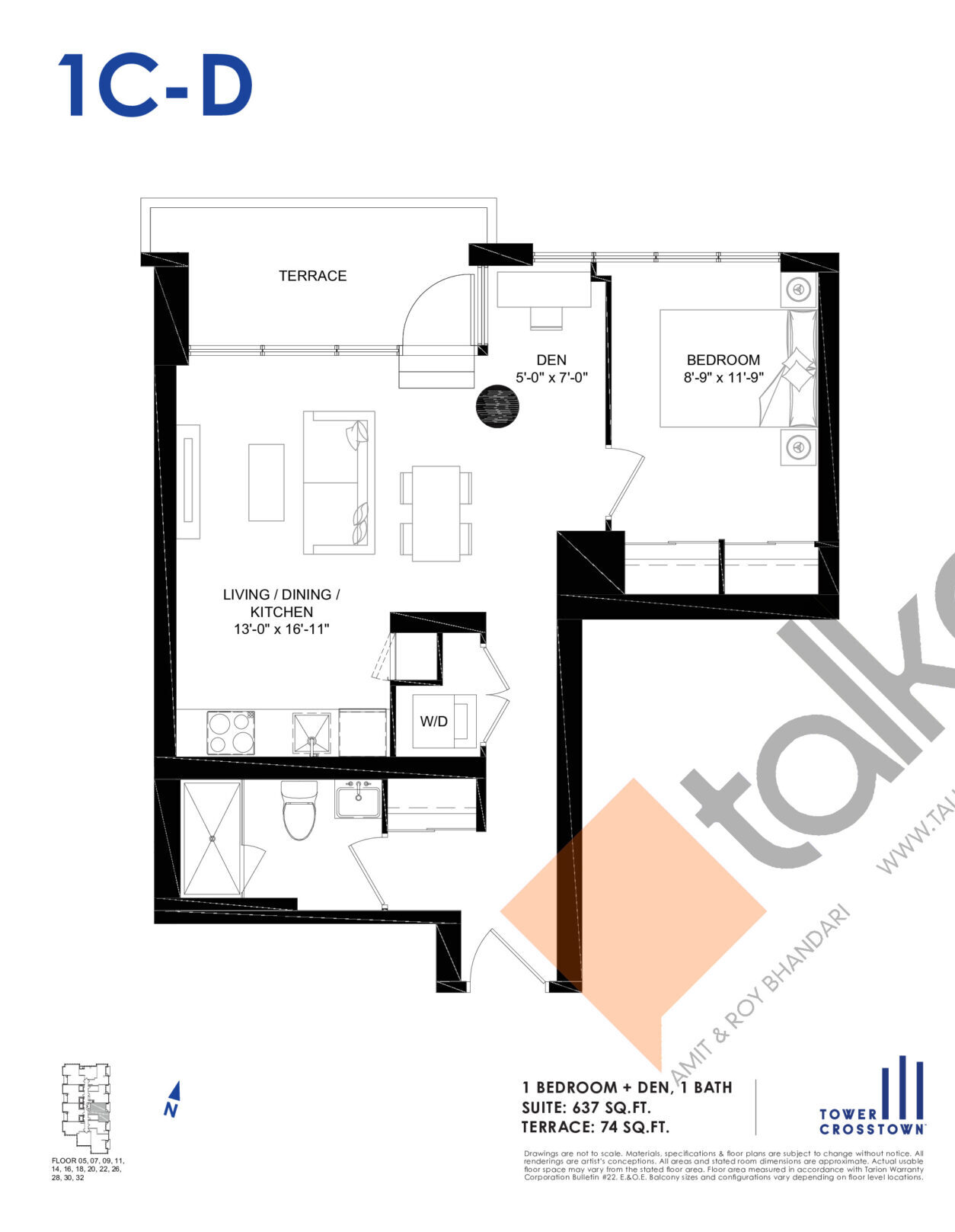1C-D Floor Plan at Crosstown Tower 3 Condos - 637 sq.ft