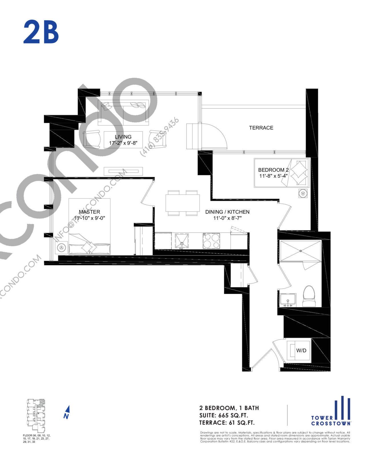2B Floor Plan at Crosstown Tower 3 Condos - 665 sq.ft