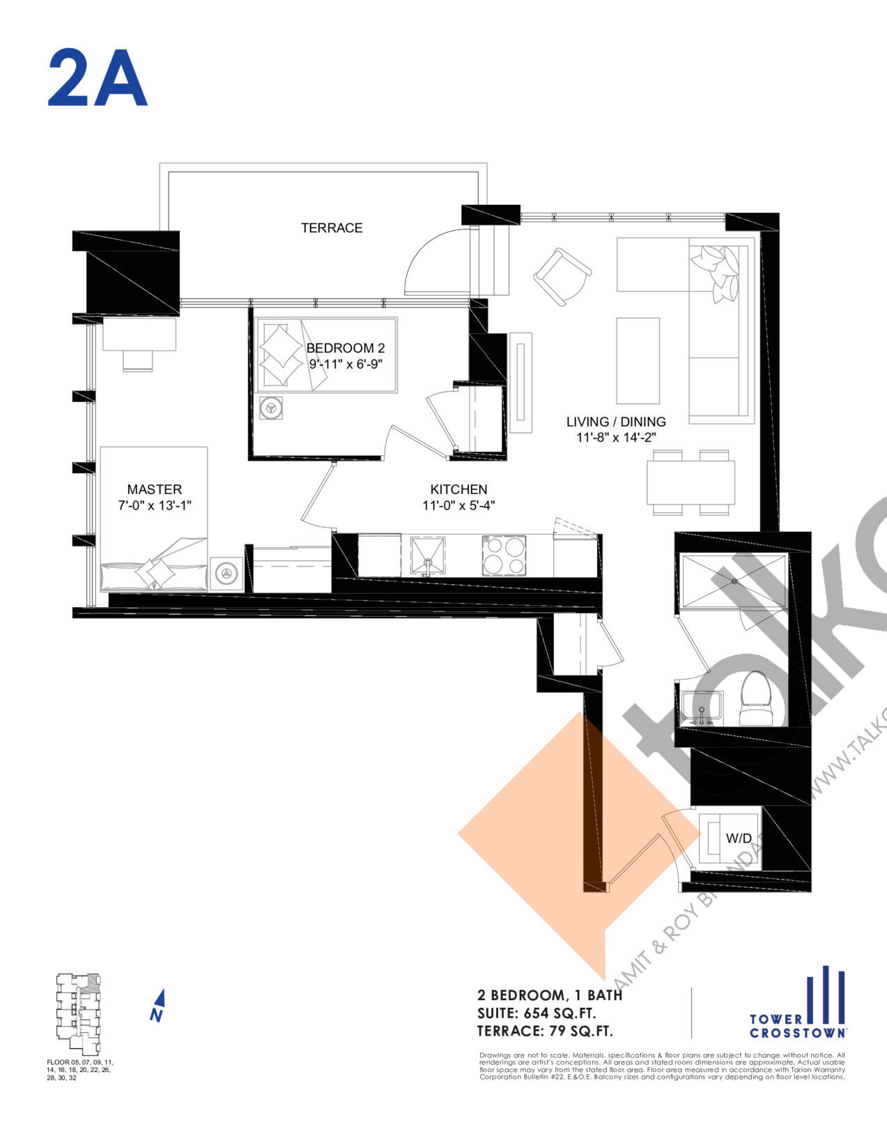 2A Floor Plan at Crosstown Tower 3 Condos - 654 sq.ft
