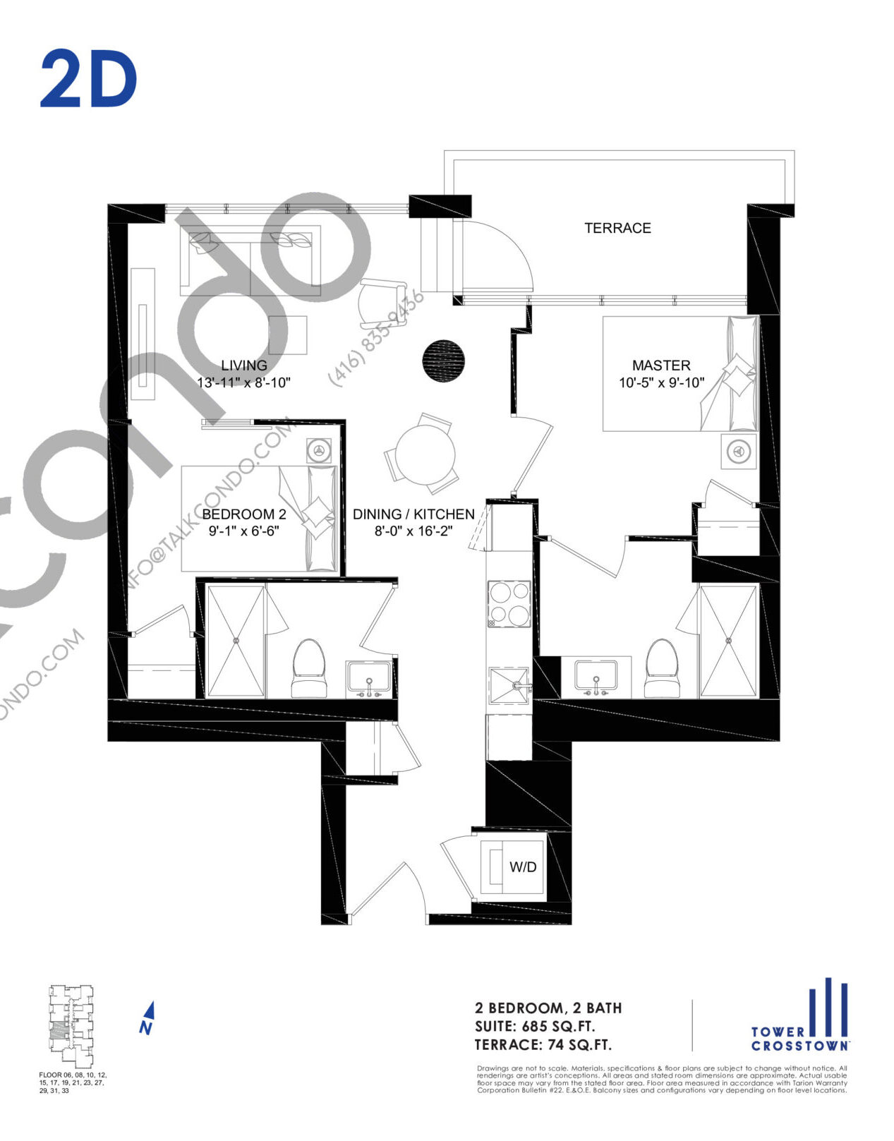 2D Floor Plan at Crosstown Tower 3 Condos - 685 sq.ft