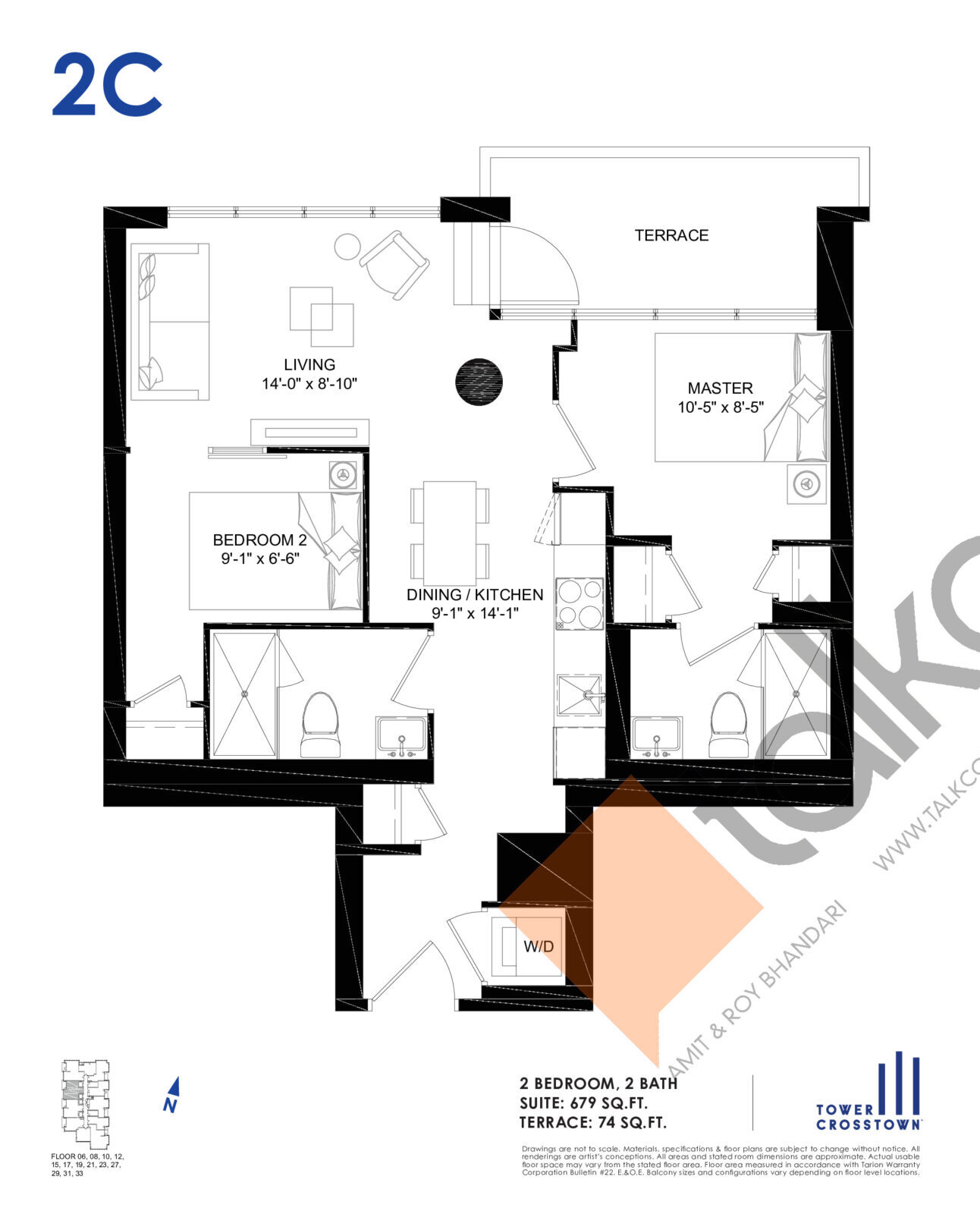 2C Floor Plan at Crosstown Tower 3 Condos - 679 sq.ft