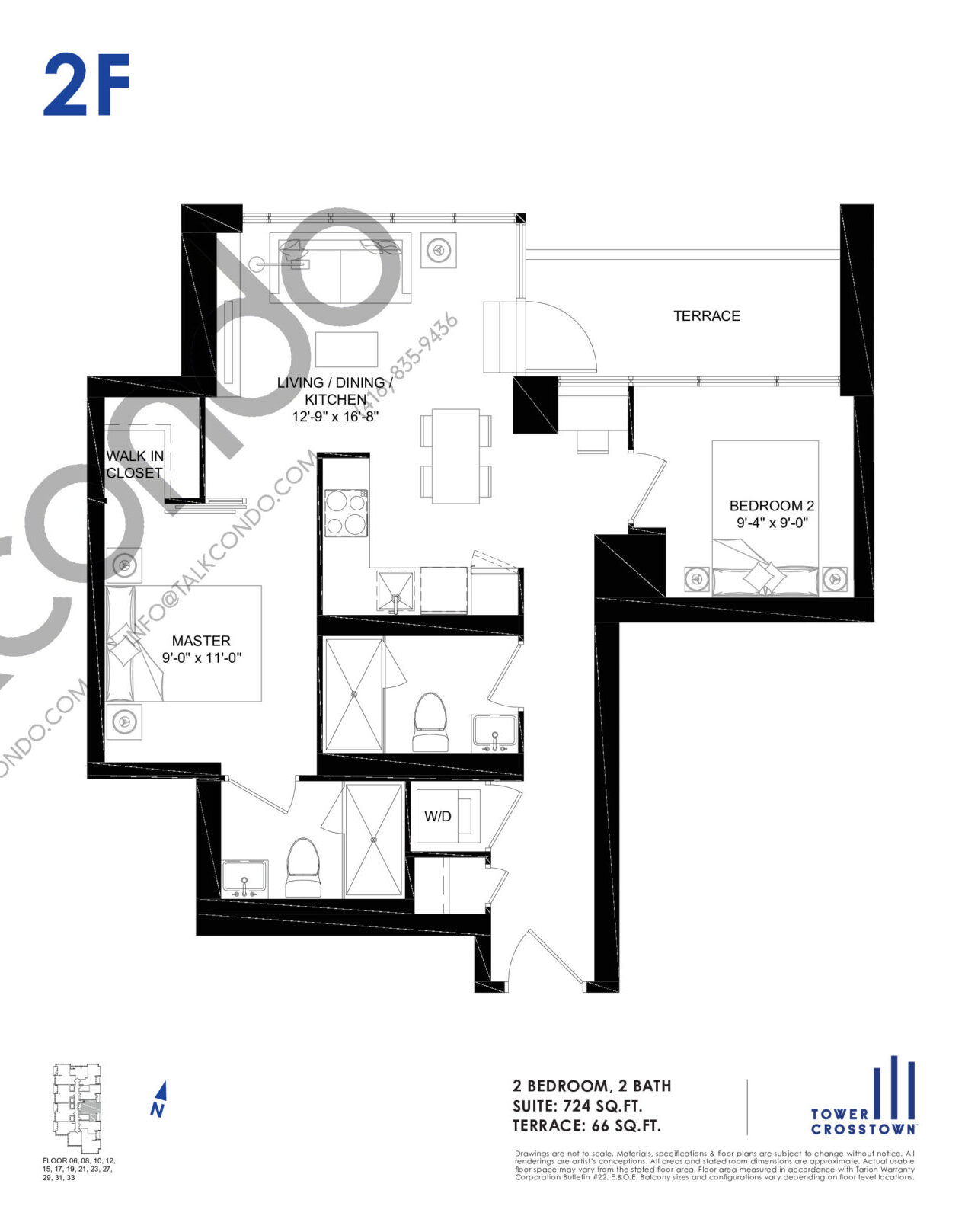 2F Floor Plan at Crosstown Tower 3 Condos - 724 sq.ft