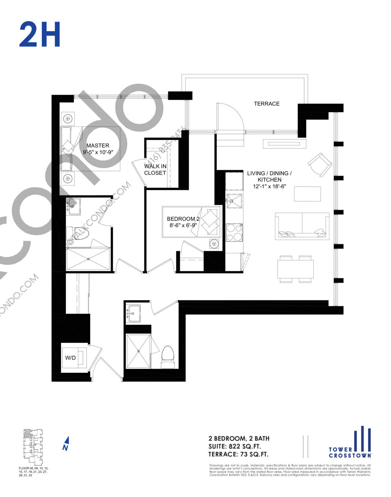 2H Floor Plan at Crosstown Tower 3 Condos - 822 sq.ft