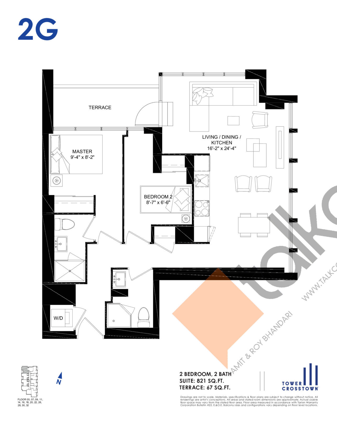 2G Floor Plan at Crosstown Tower 3 Condos - 821 sq.ft