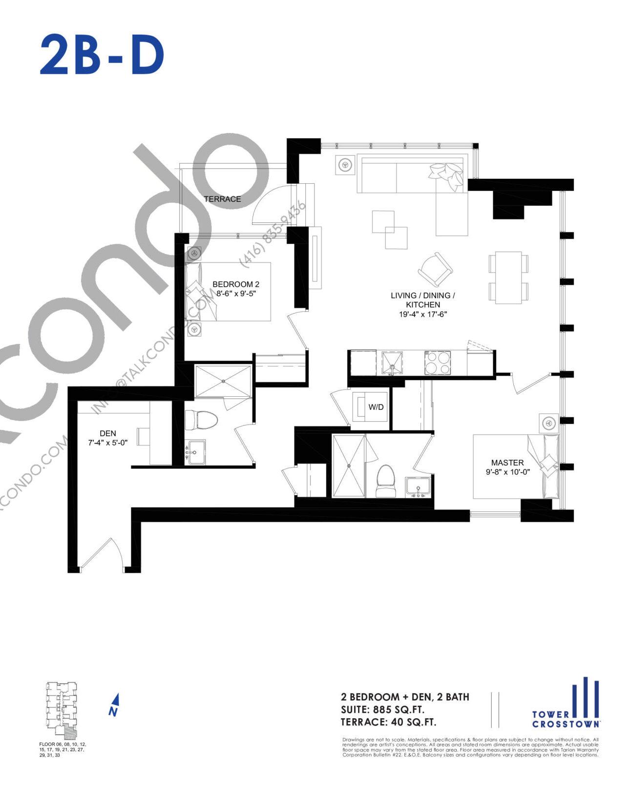 2B-D Floor Plan at Crosstown Tower 3 Condos - 885 sq.ft