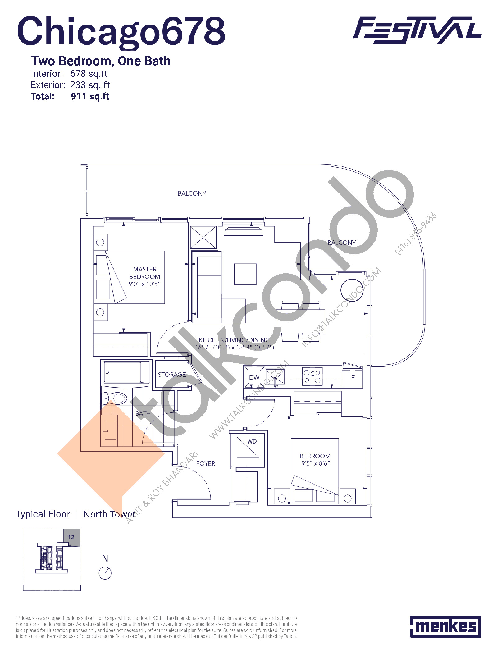 Chicago 678 Floor Plan at Festival Condos North Tower - 678 sq.ft
