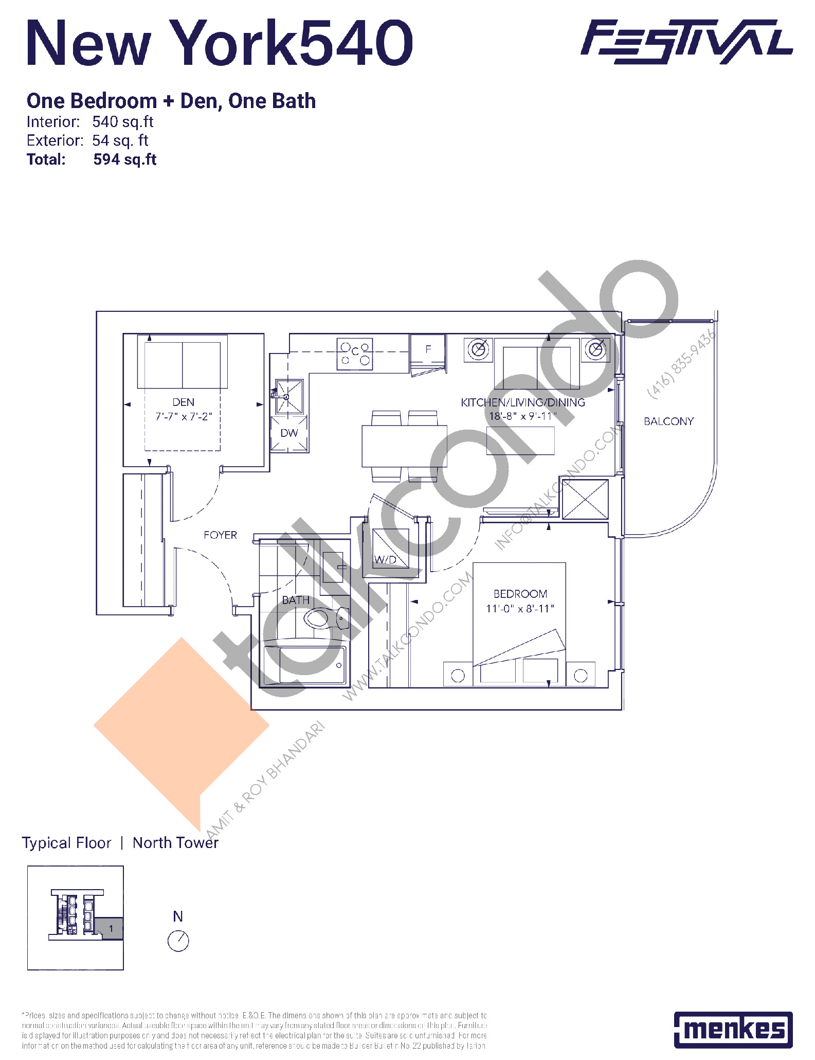 New York 540 Floor Plan at Festival Condos North Tower - 540 sq.ft