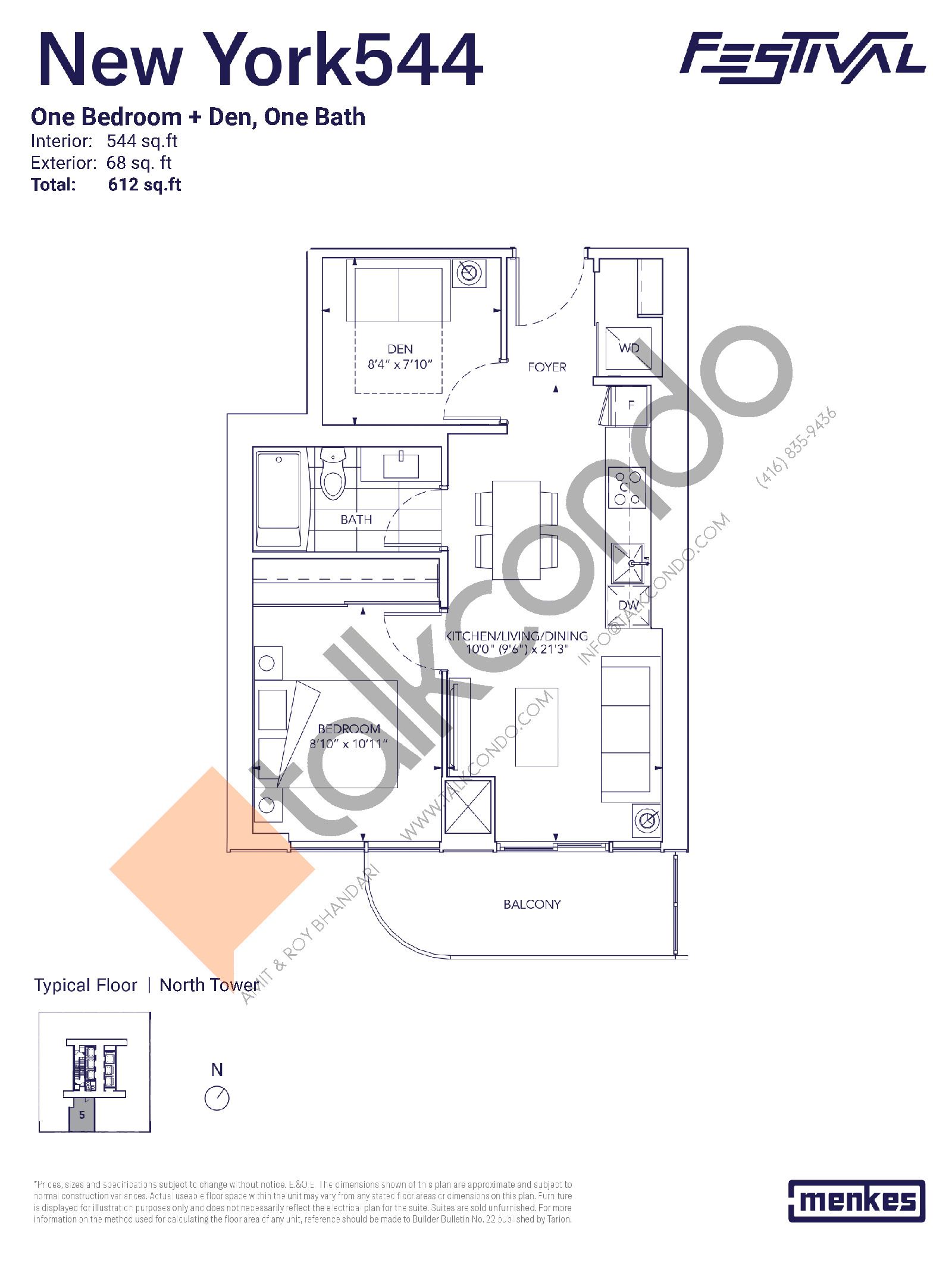 New York 544 Floor Plan at Festival Condos North Tower - 544 sq.ft