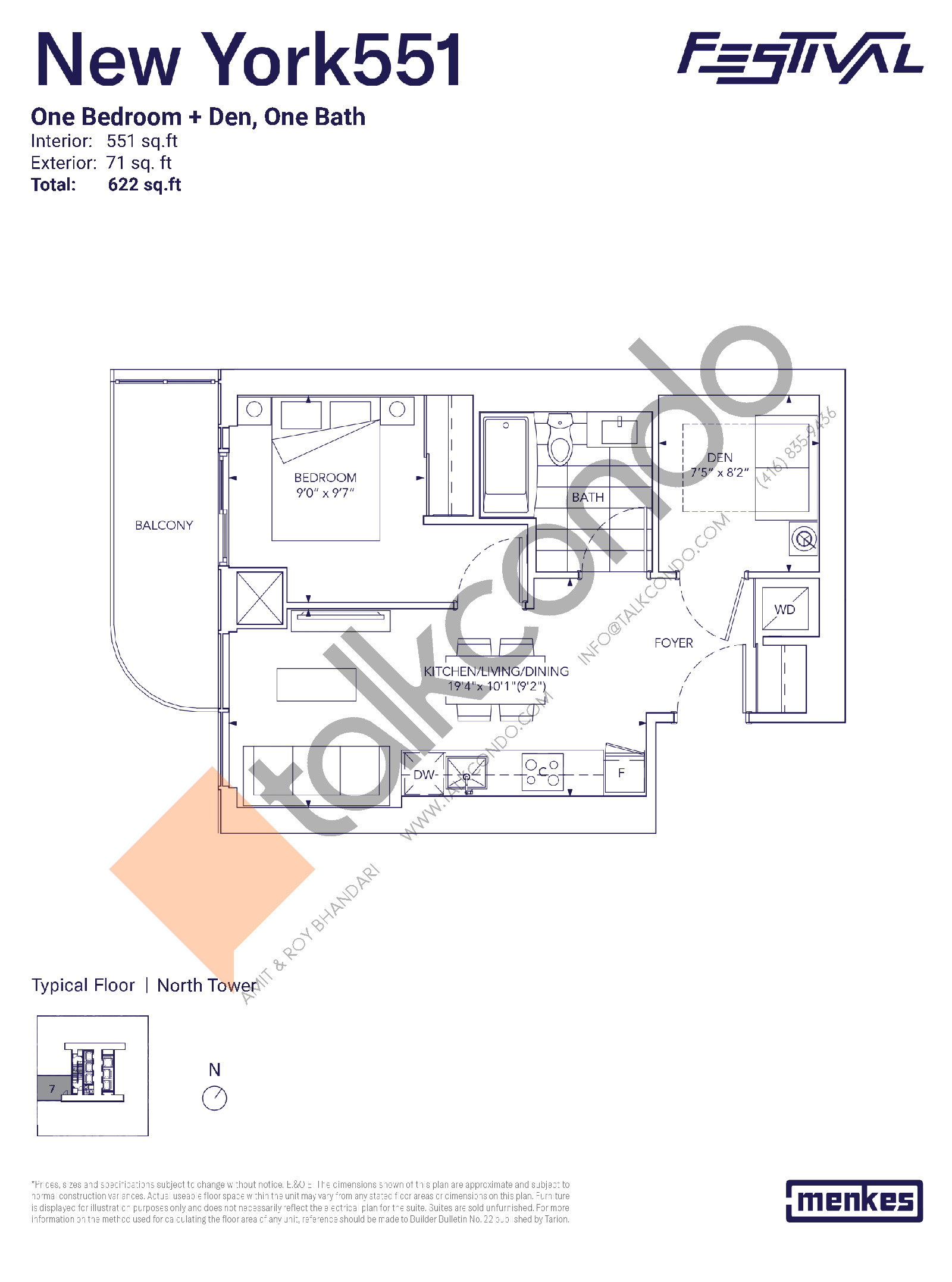 New York 551 Floor Plan at Festival Condos North Tower - 551 sq.ft