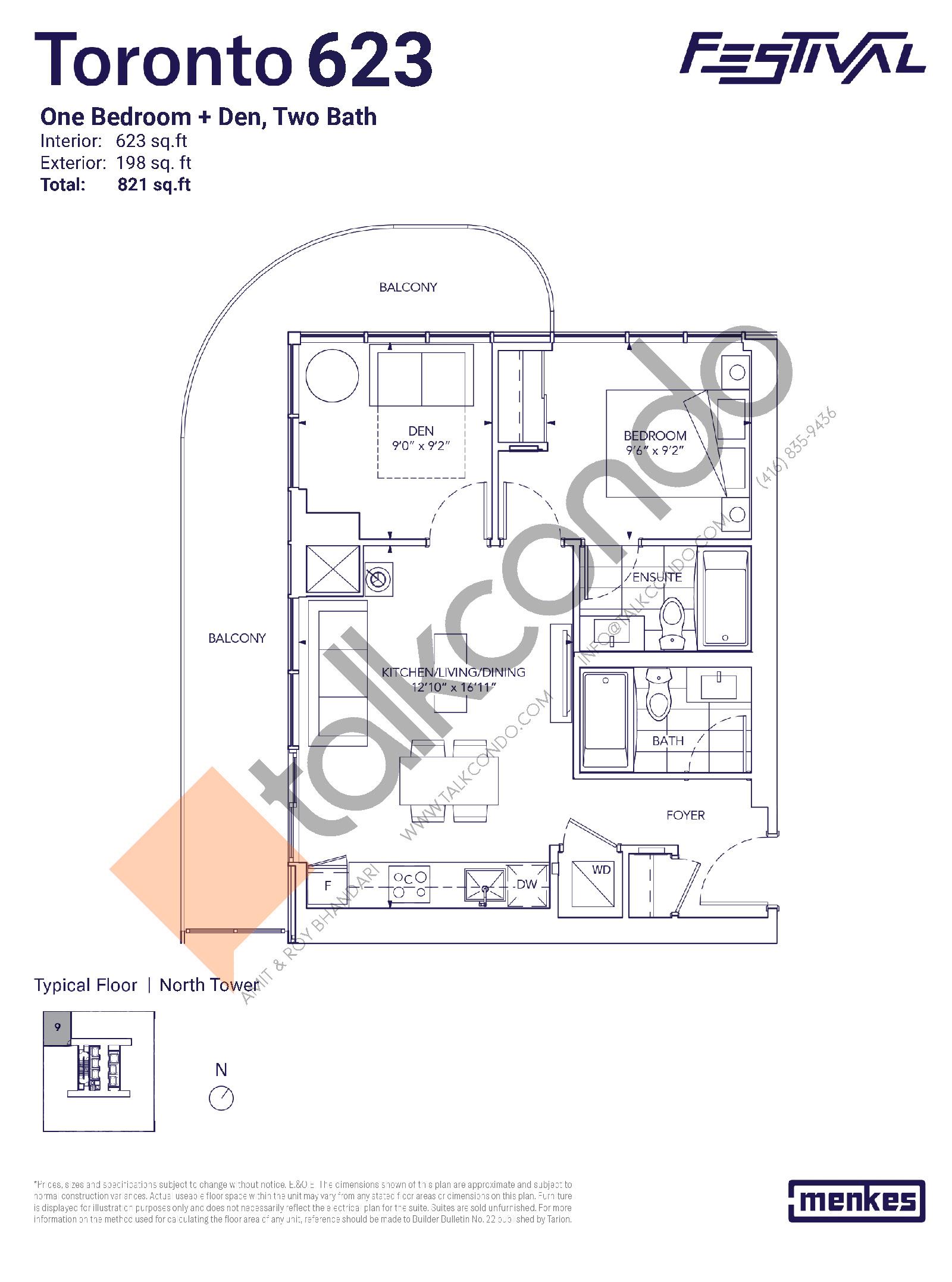 Toronto 623 Floor Plan at Festival Condos North Tower - 623 sq.ft