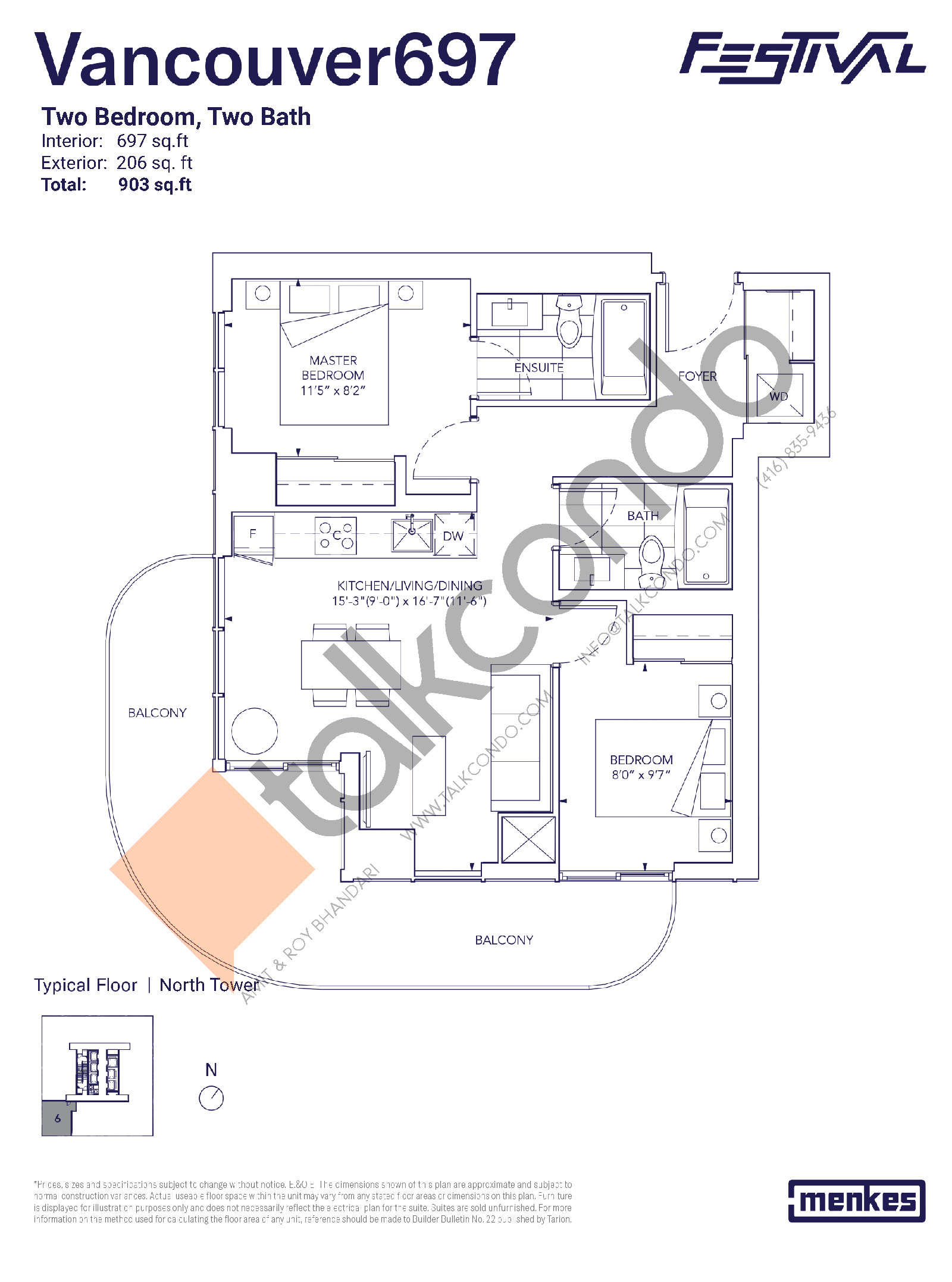 Vancouver 697 Floor Plan at Festival Condos North Tower - 697 sq.ft