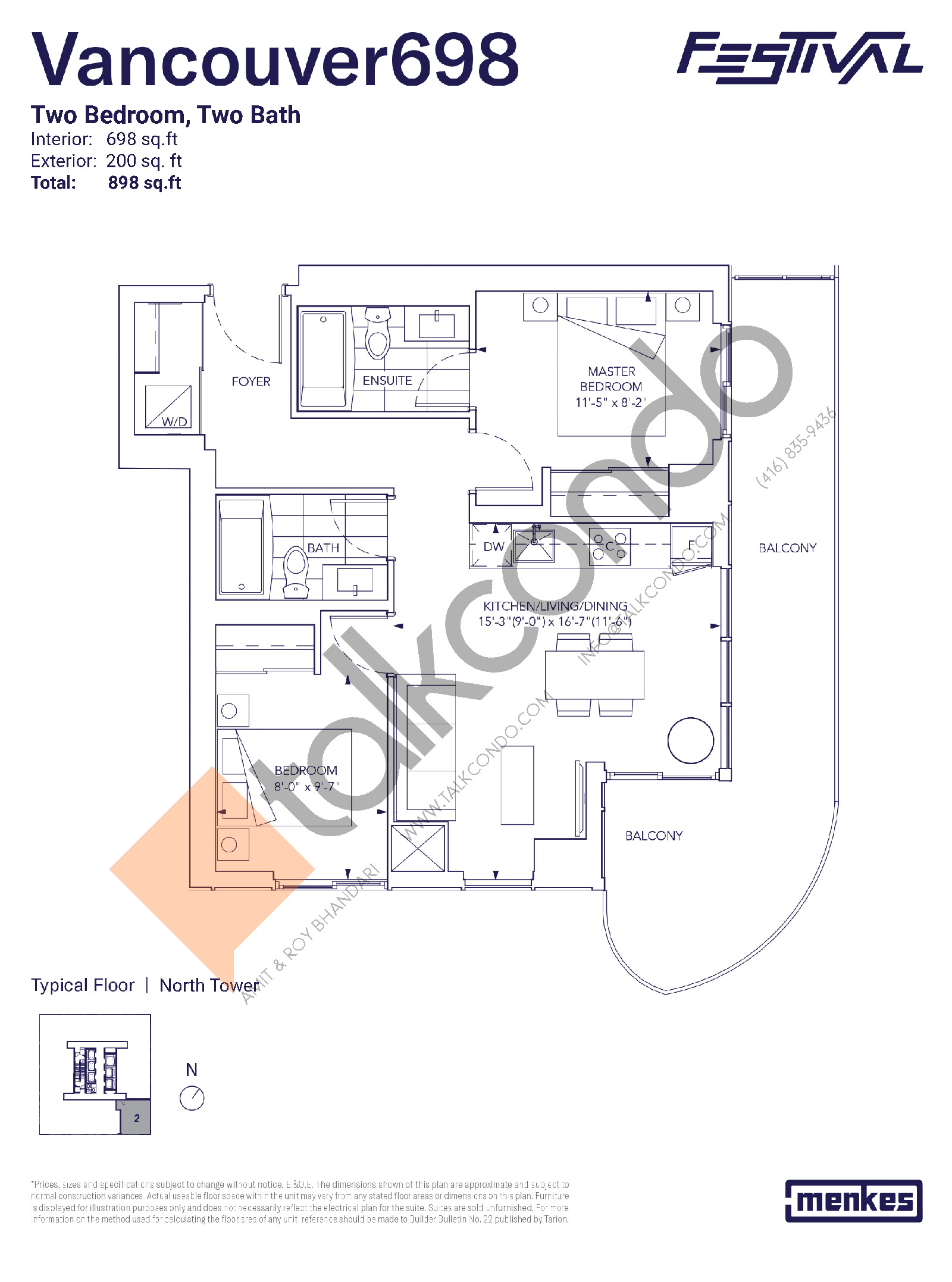 Vancouver 698 Floor Plan at Festival Condos North Tower - 698 sq.ft